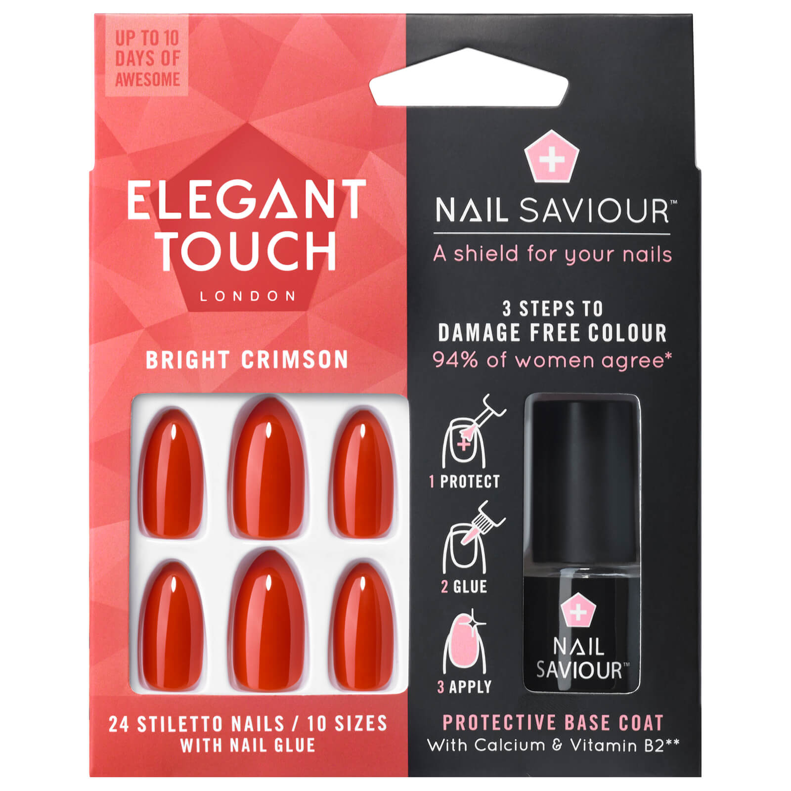 Elegant Touch Nail Saviour - Bright Crimson