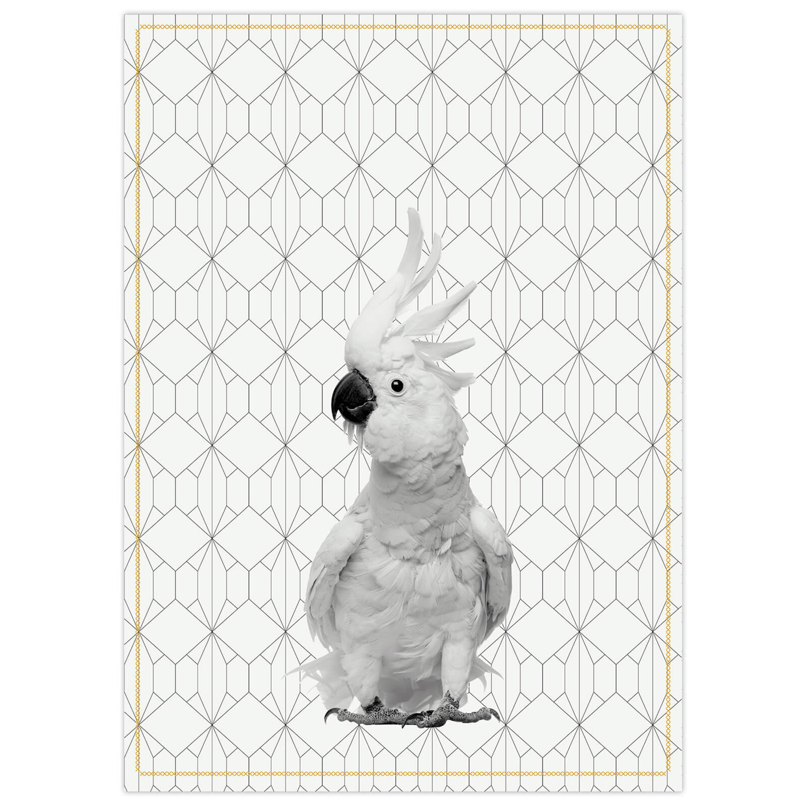 Cotton Tea Towel with Yellow Stitch - Cockatoo Ochre