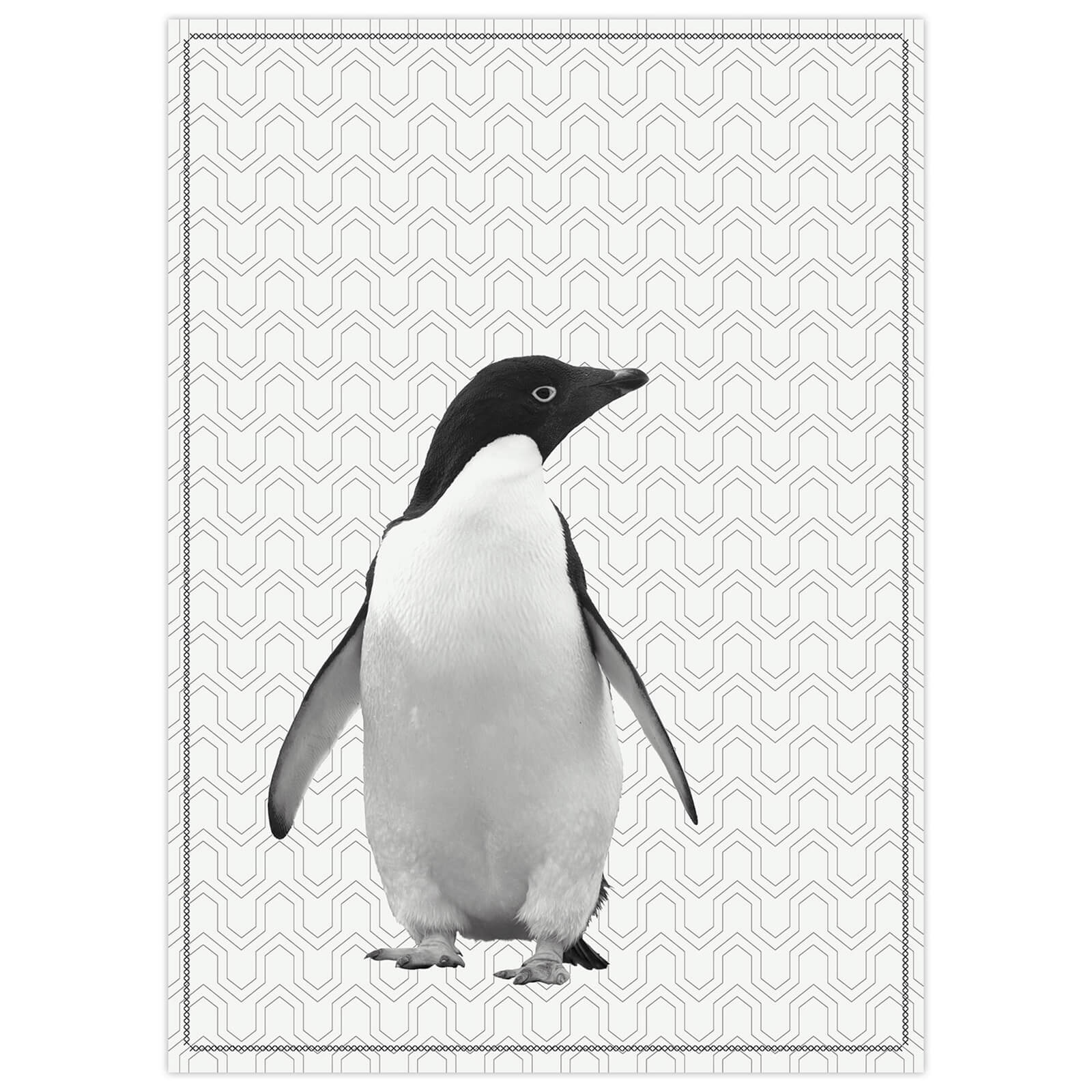 Cotton Tea Towel with Black Stitch - Penguin