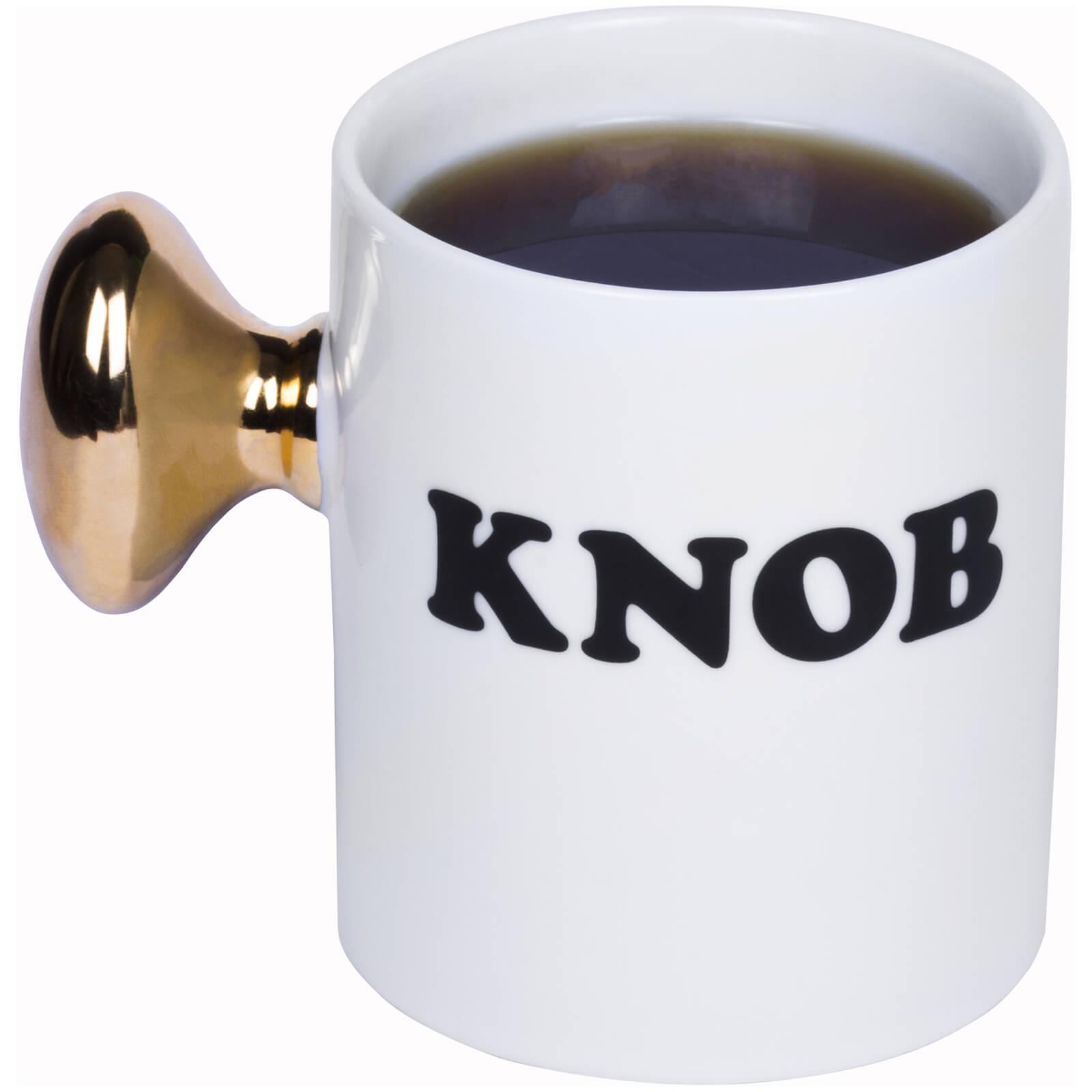 White Knob Mug with gold tinted door knob handle