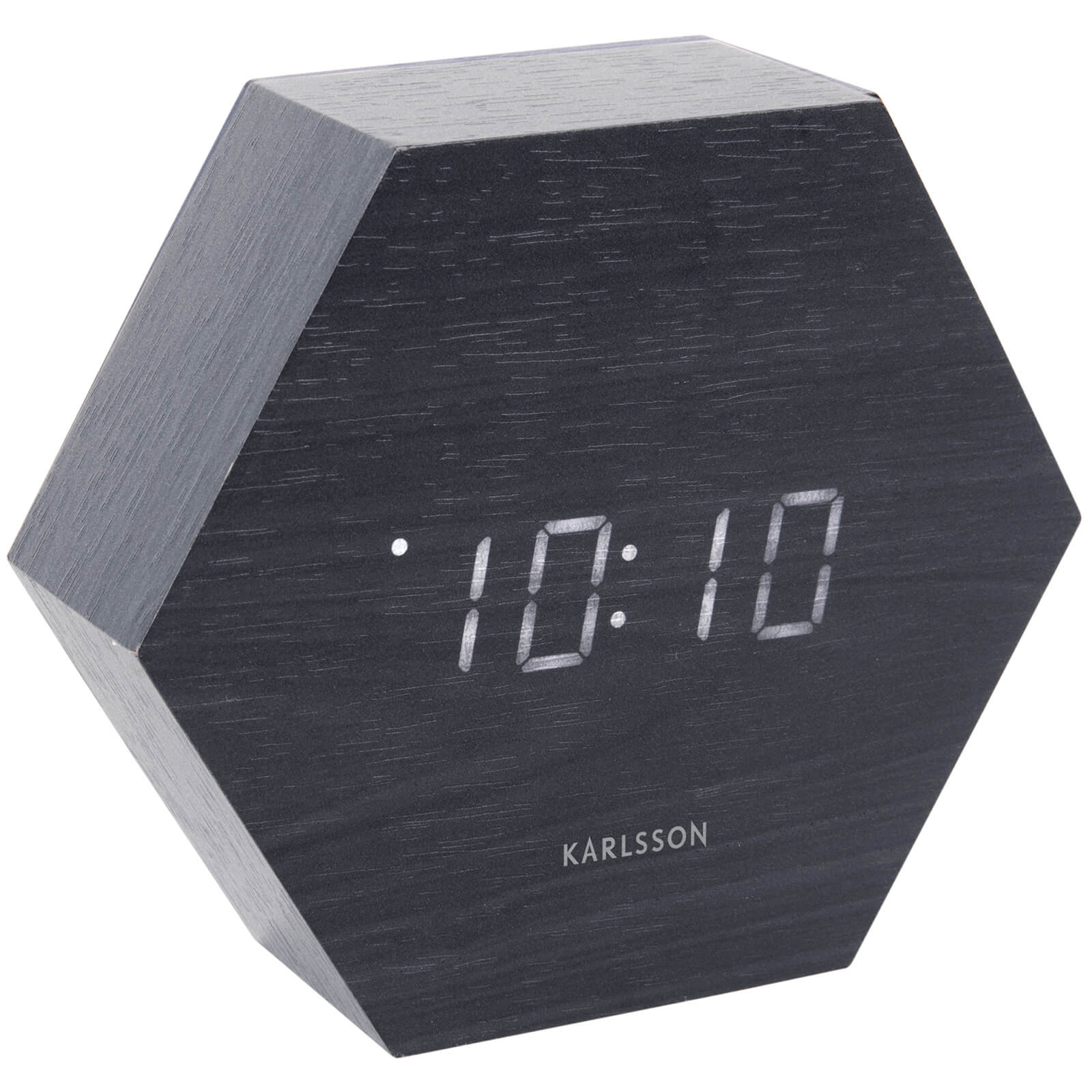 Karlsson Hexagon Alarm Clock - Black Veneer with White LED