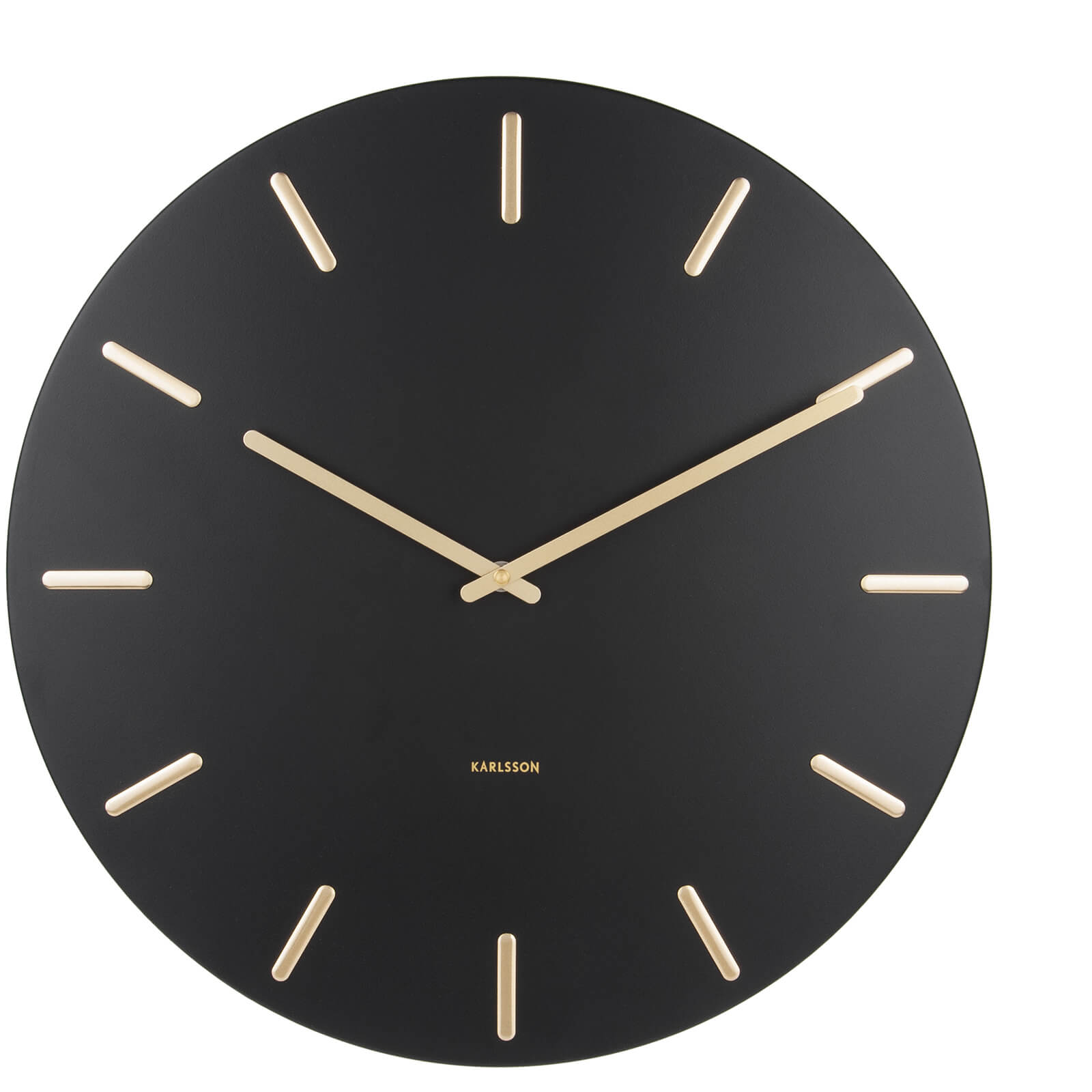 Karlsson Charm Wall Clock - Black with Gold Battons