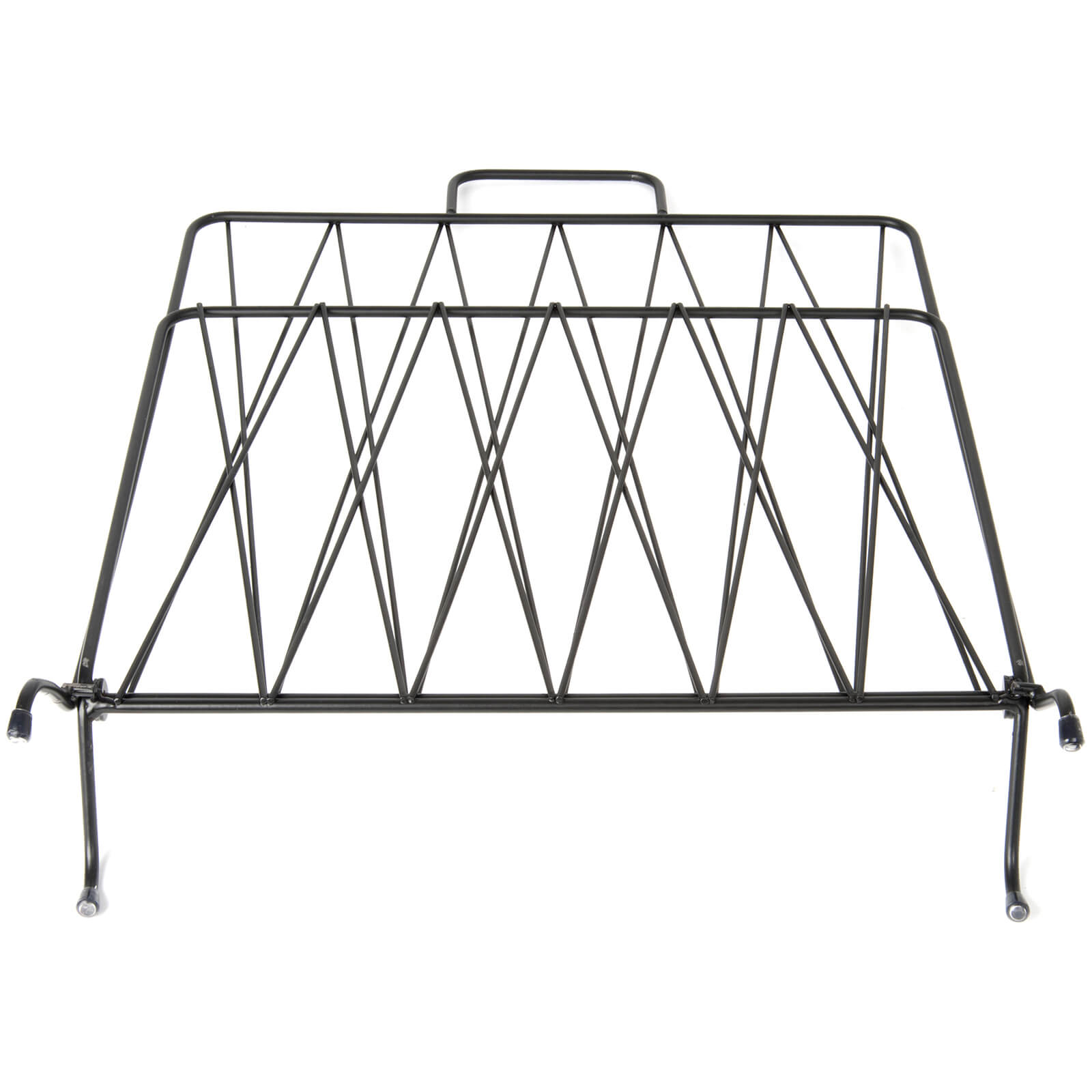 Present Time Diamond Raster Metal Magazine Rack - Matt Black