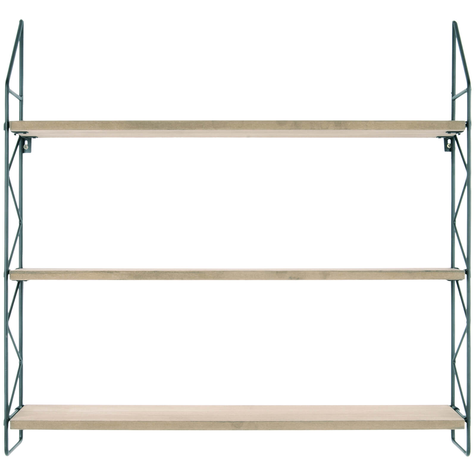 Present Time Zig Zag Wall Rack - Black with Wooden Shelves