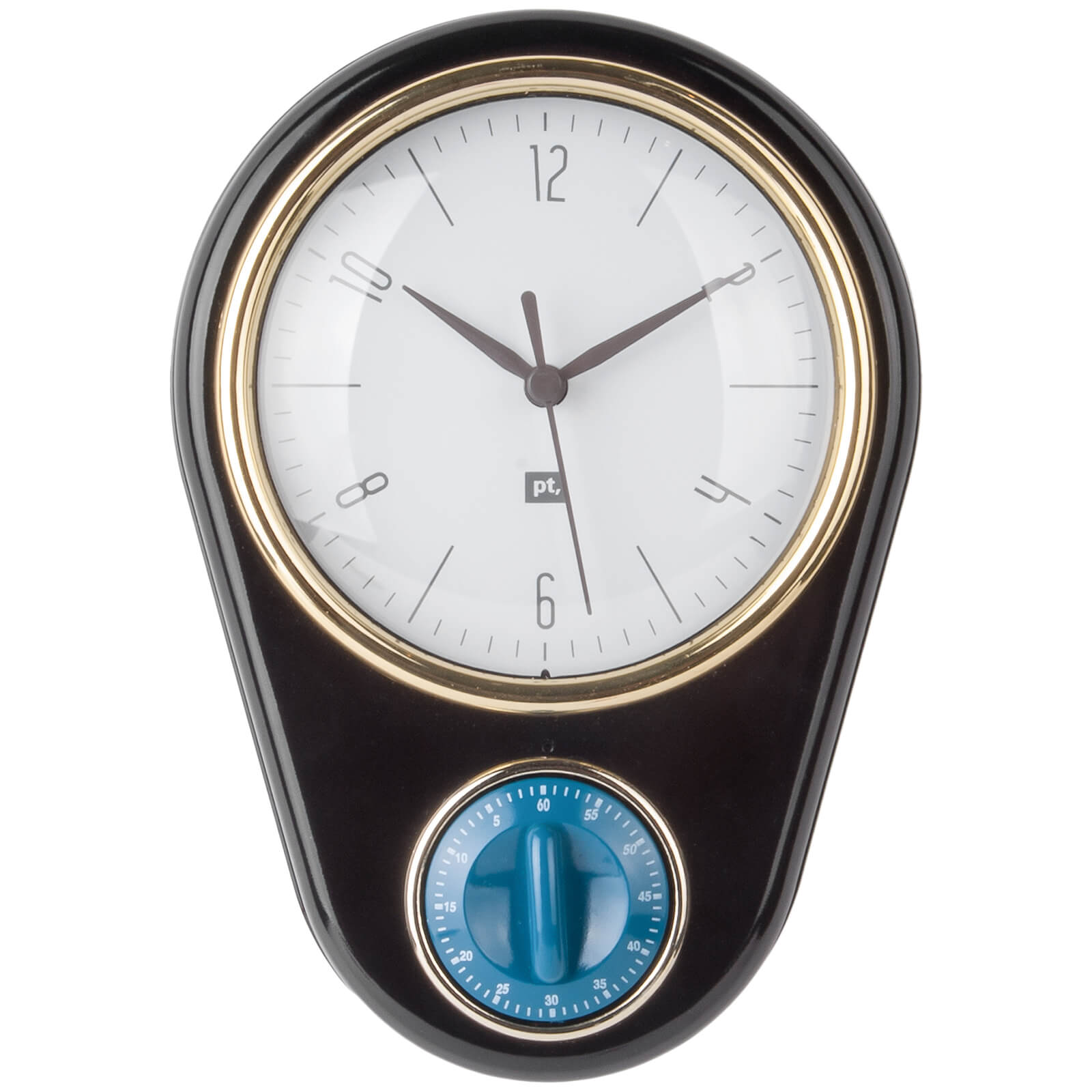 Present Time Retro Wall Clock with Kitchen Timer - Black