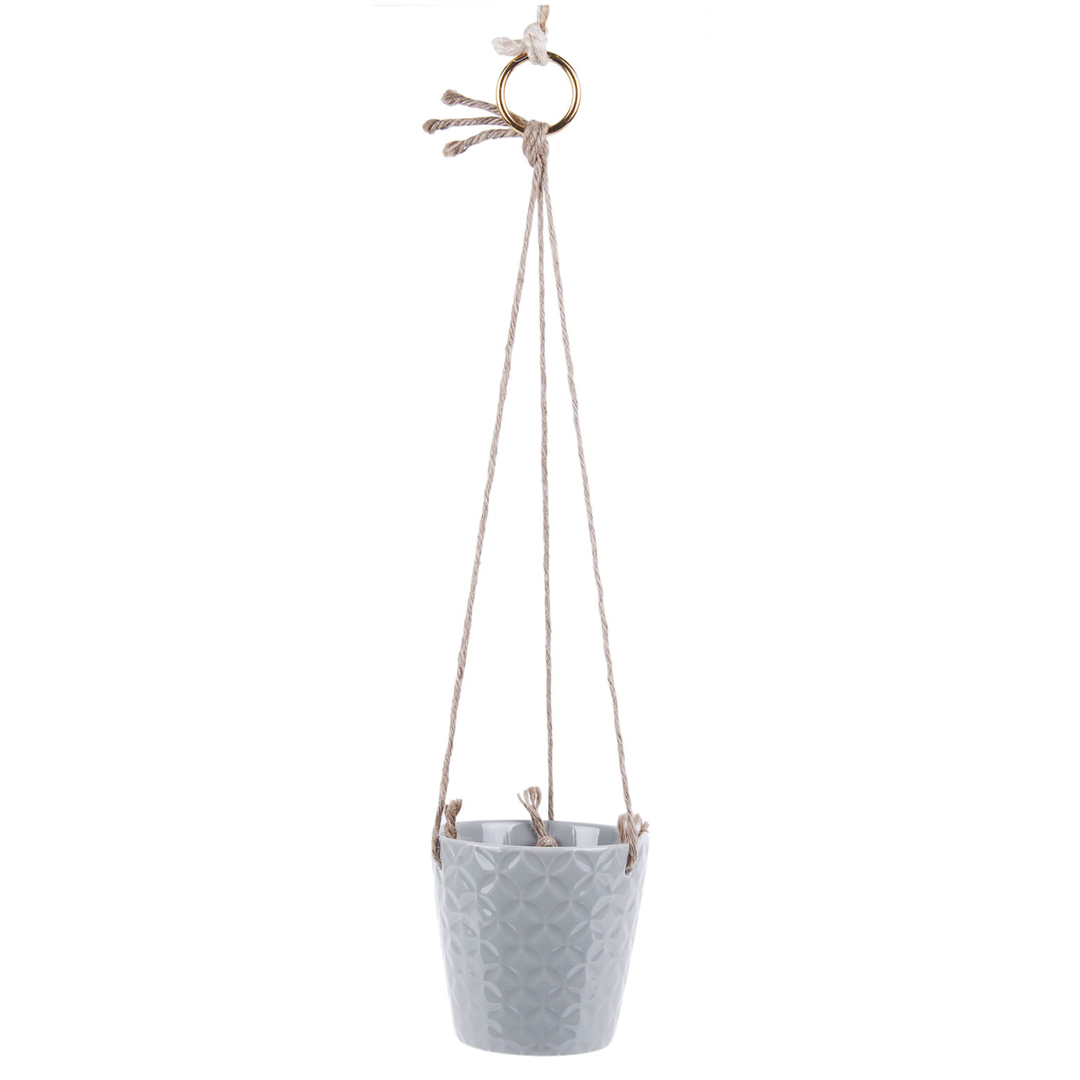 Present Time Hew Ceramic Hanging Pot - Mouse Grey