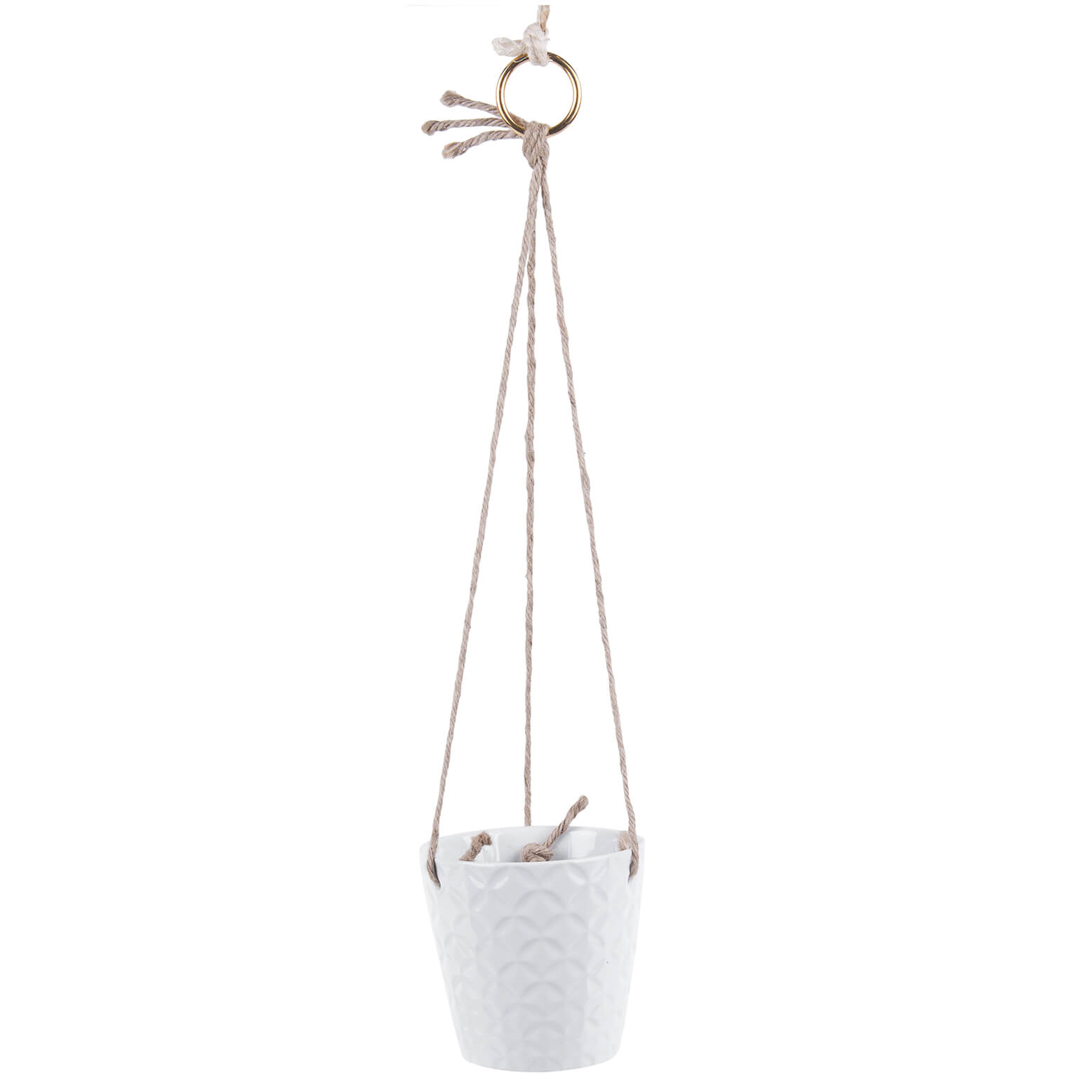 Present Time Hew Ceramic Hanging Pot - White