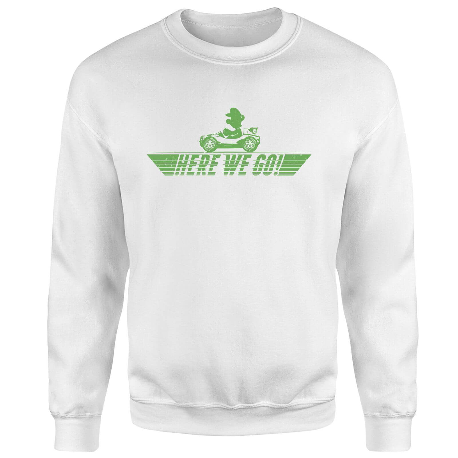 Mario Kart Here We Go Luigi Sweatshirt - White