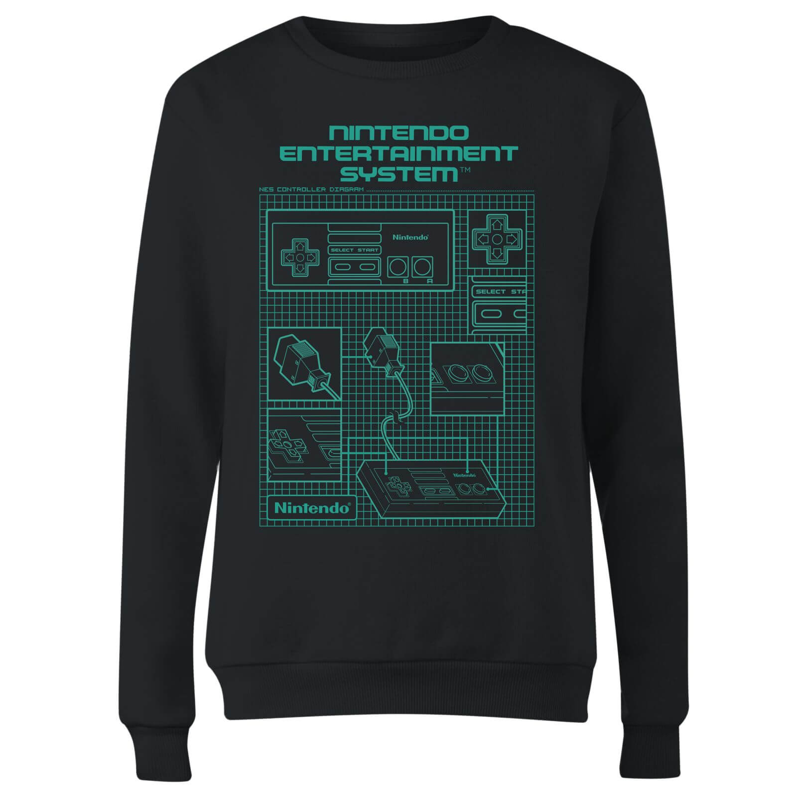 Nes controller blueprint black womens sweatshirt black clothing nes controller blueprint black women malvernweather Choice Image