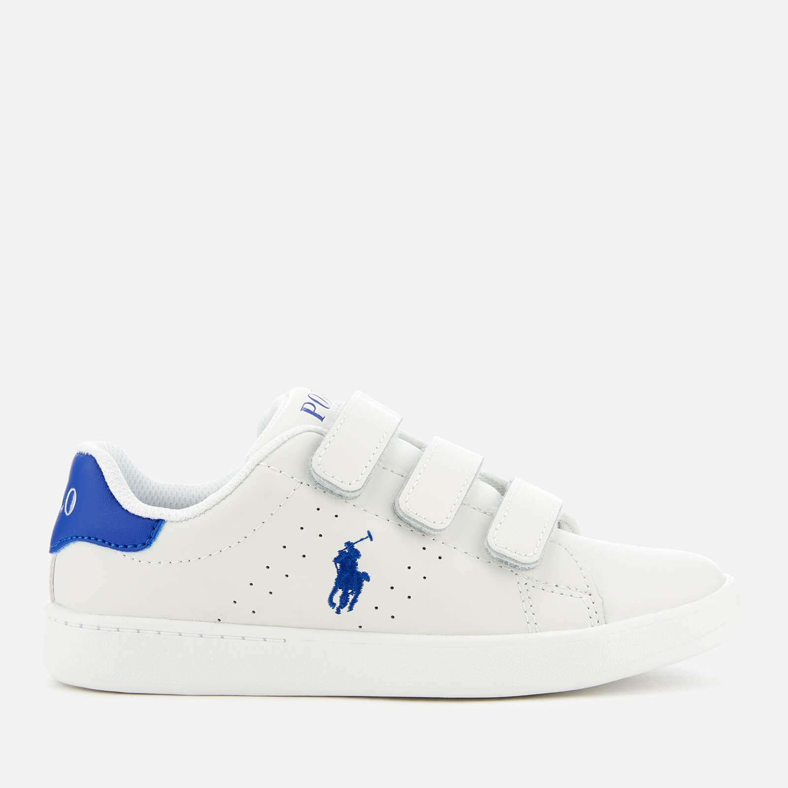 7f33016d5dd Polo Ralph Lauren Kids' Quilton EZ Leather Velcro Trainers - White/Royal  Junior Clothing | TheHut.com
