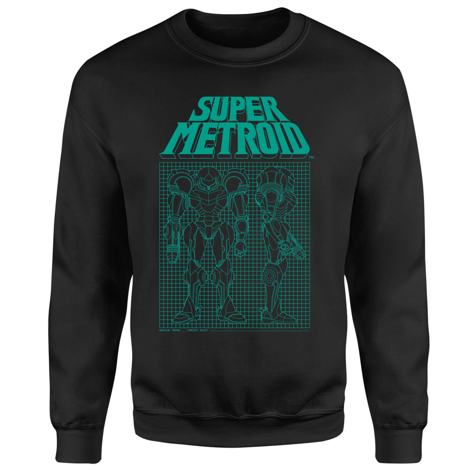 Nintendo Super Metroid Power Suit Blueprint Black Sweatshirt - Black