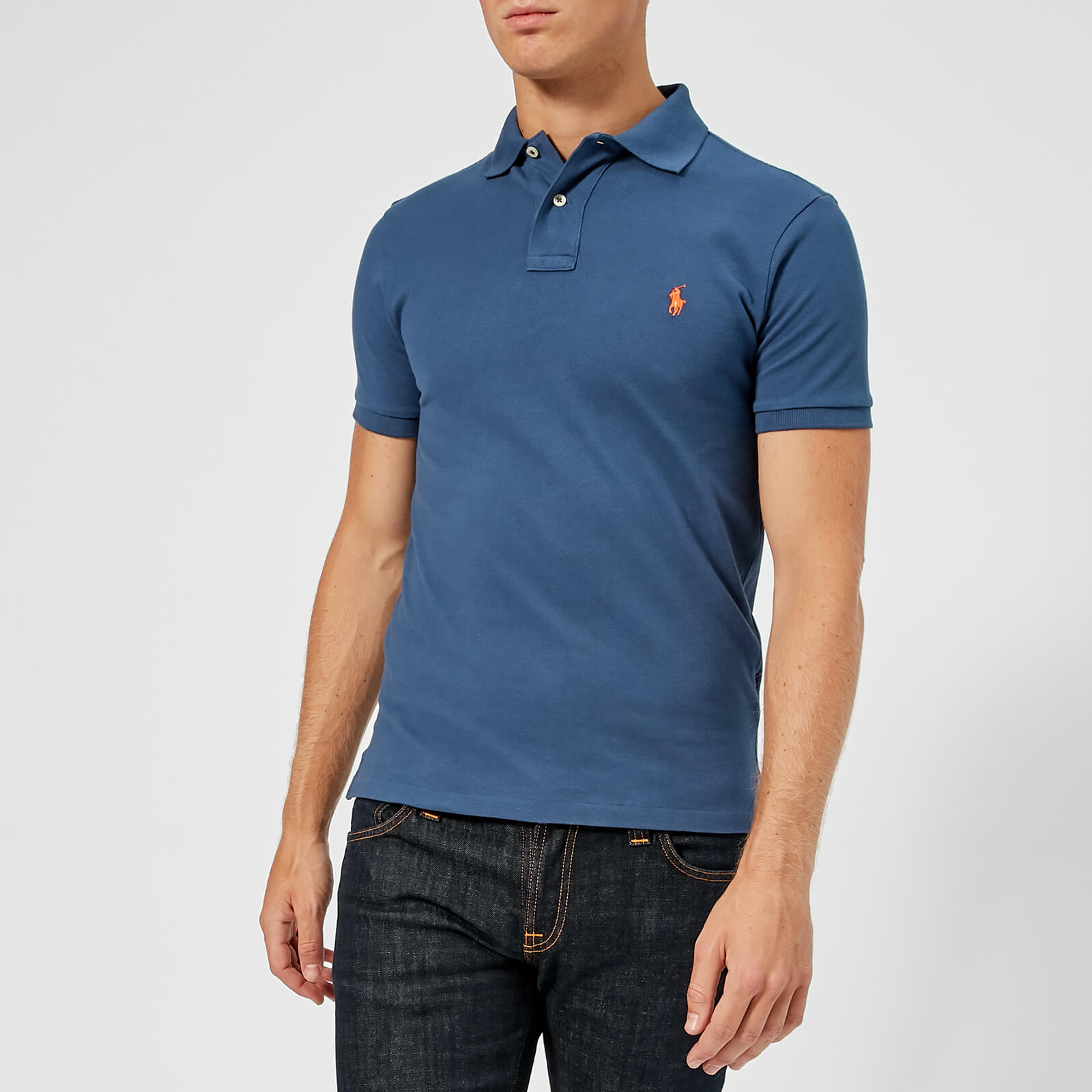 2cd20f5a Polo Ralph Lauren Men's Slim Fit Mesh Polo Shirt - Light Navy - Free UK  Delivery over £50