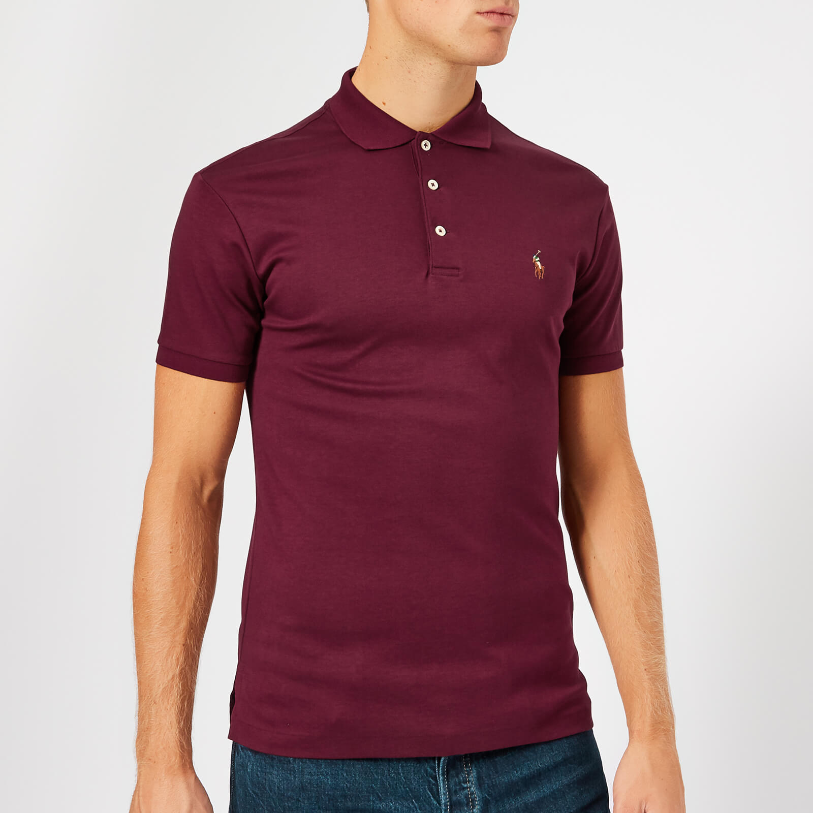 Classic Fit Pima Wine Lauren Polo Slim Shirt Men's Ralph kXOilwuTZP
