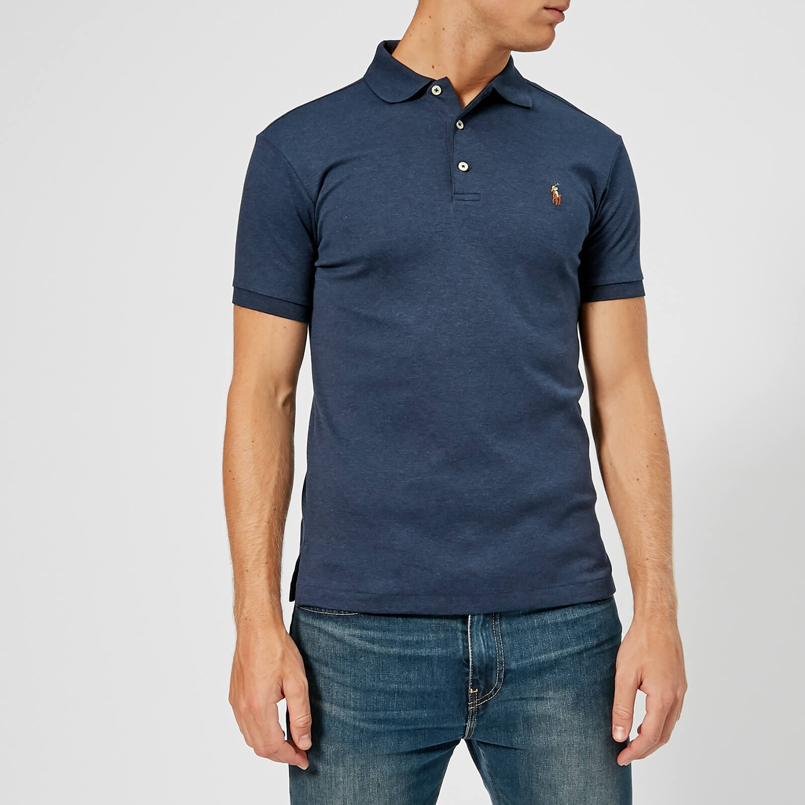 cee8e96e46389 Polo Ralph Lauren Men s Slim Fit Pima Polo Shirt - Spring Navy Heather -  Free UK Delivery over £50