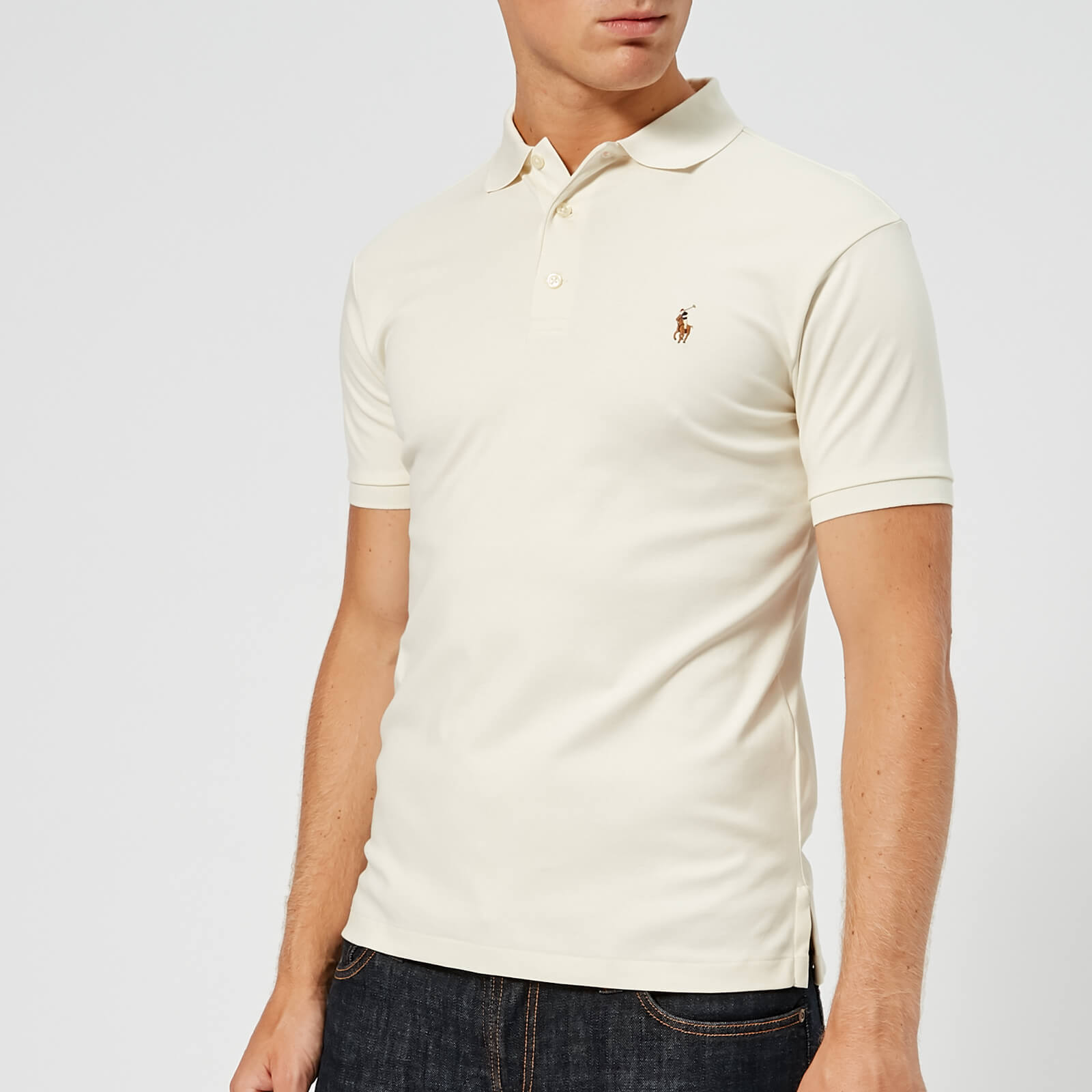 6b6b7df3 Polo Ralph Lauren Men's Slim Fit Pima Polo Shirt - Chic Cream - Free UK  Delivery over £50