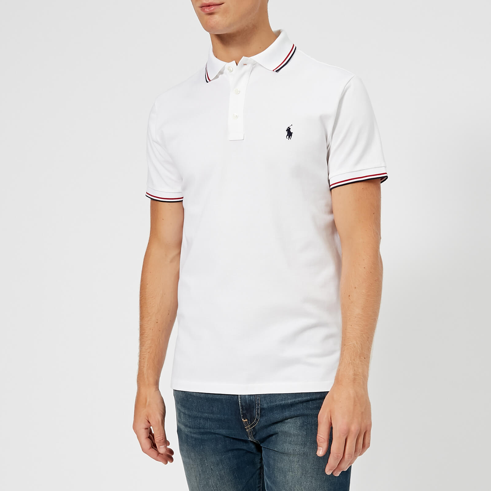 213b1dbb Polo Ralph Lauren Men's Slim Fit Stretch Mesh Tipped Polo Shirt - White -  Free UK Delivery over £50