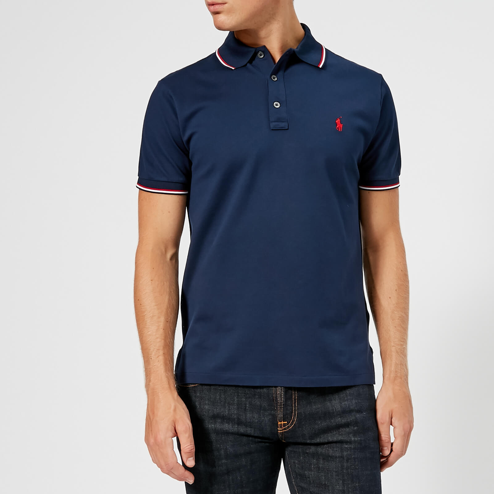 bf61cd72 Polo Ralph Lauren Men's Custom Slim Fit Mesh Polo Shirt - Cruise Navy -  Free UK Delivery over £50