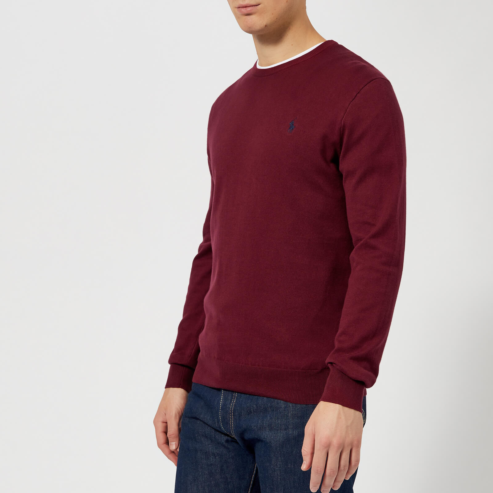 4fb803ea24057 Polo Ralph Lauren Men s Pima Cotton Crew Neck Knitted Jumper - Classic Wine  - Free UK Delivery over £50