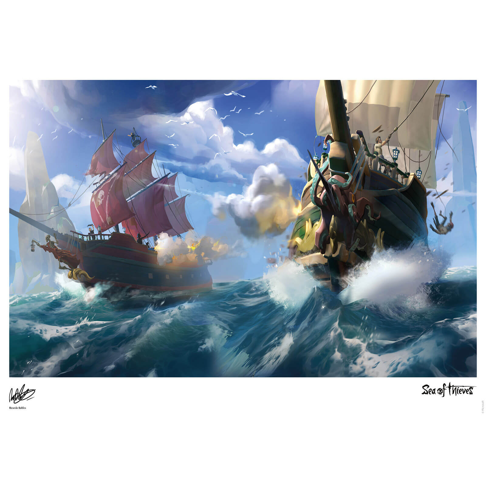 Sea Of Thieves - Broadsides at noon Limited Edition Art Print Measures 41.91 x 29.72cm