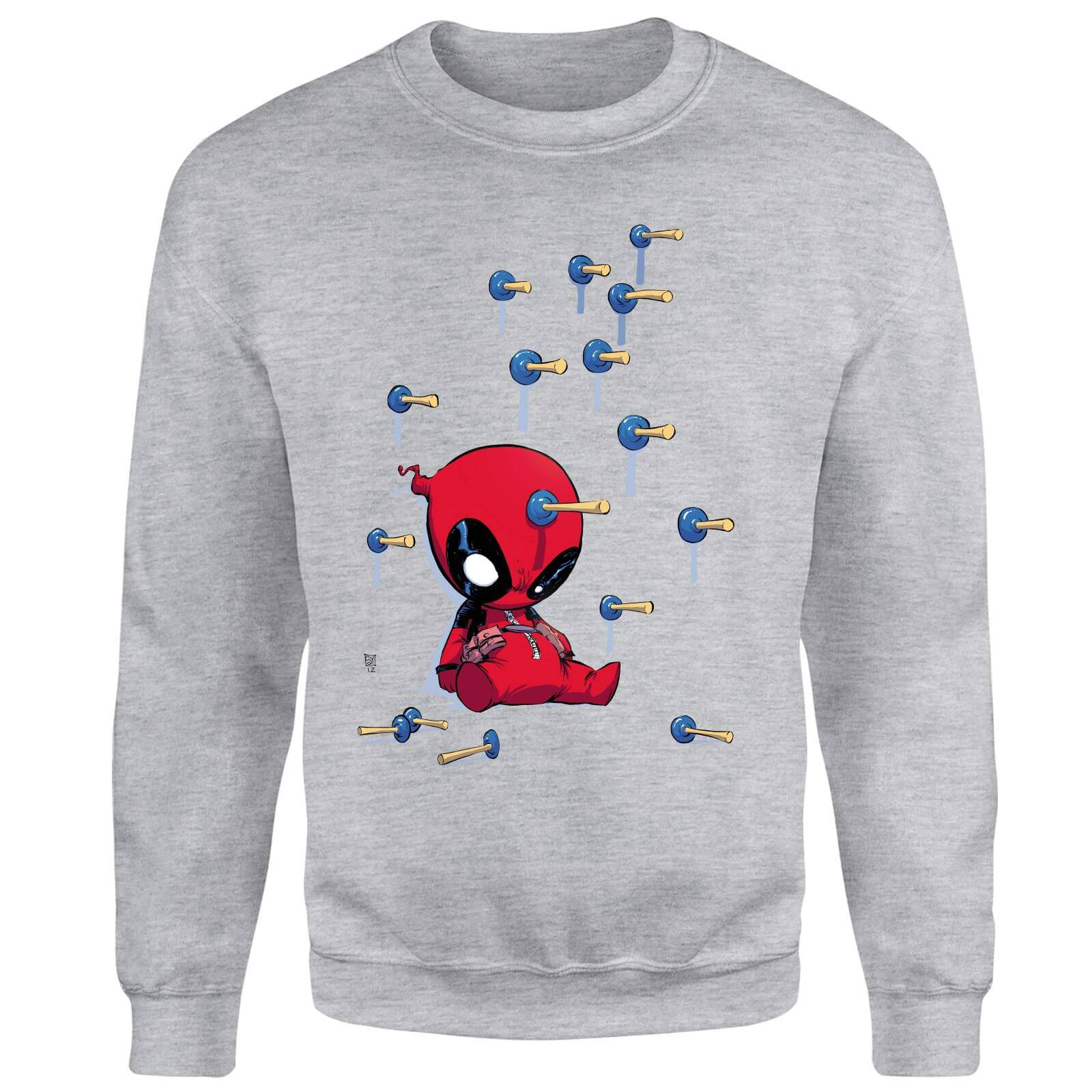 Marvel Deadpool Cartoon Knockout Sweatshirt - Grey