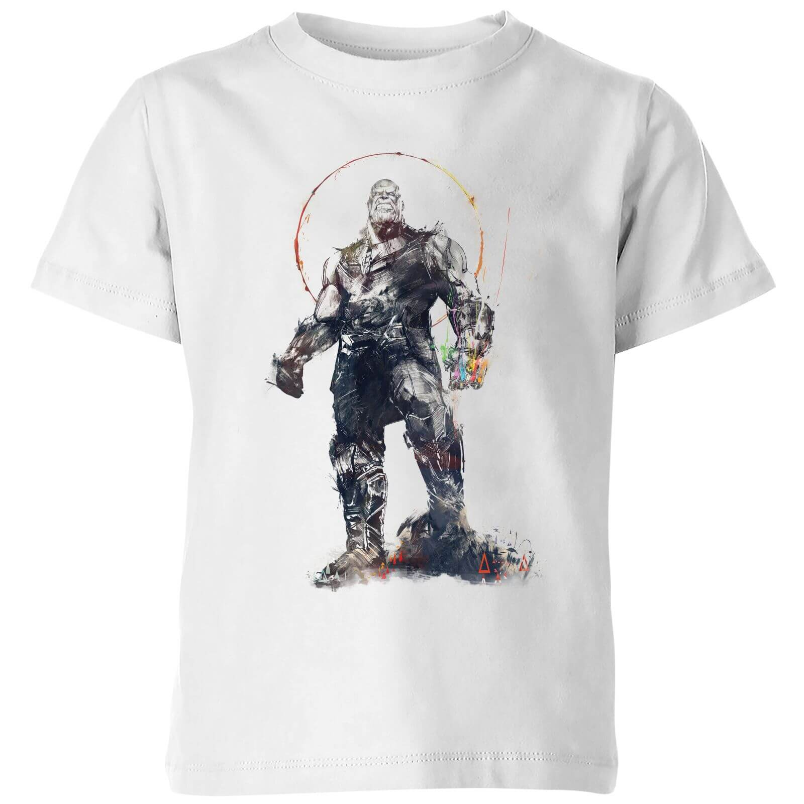 55ae148aa07 Marvel Avengers Infinity War Thanos Sketch Kids  T-Shirt - White Clothing