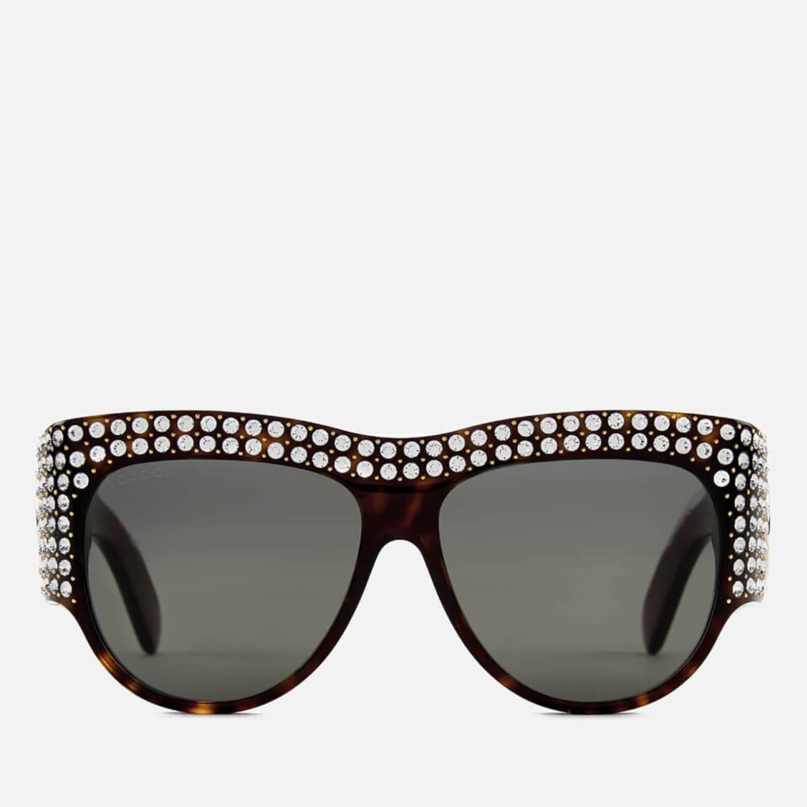 c0713c336ec Gucci Women s Crystal Oval Sunglasses - Havana Grey - Free UK Delivery over  £50