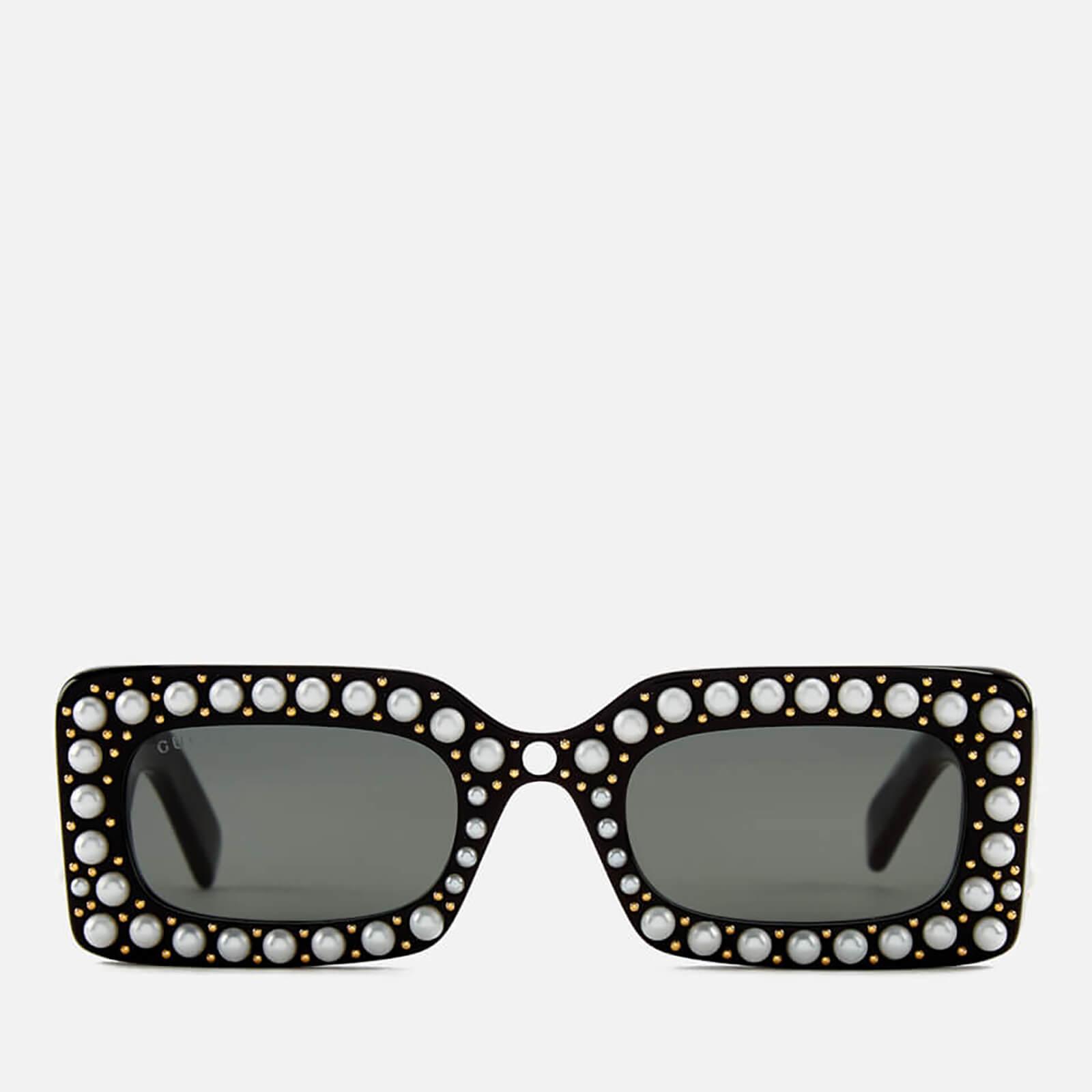 35682166217 Gucci Women's Pearl Square Sunglasses - Black/Grey - Free UK Delivery over  £50
