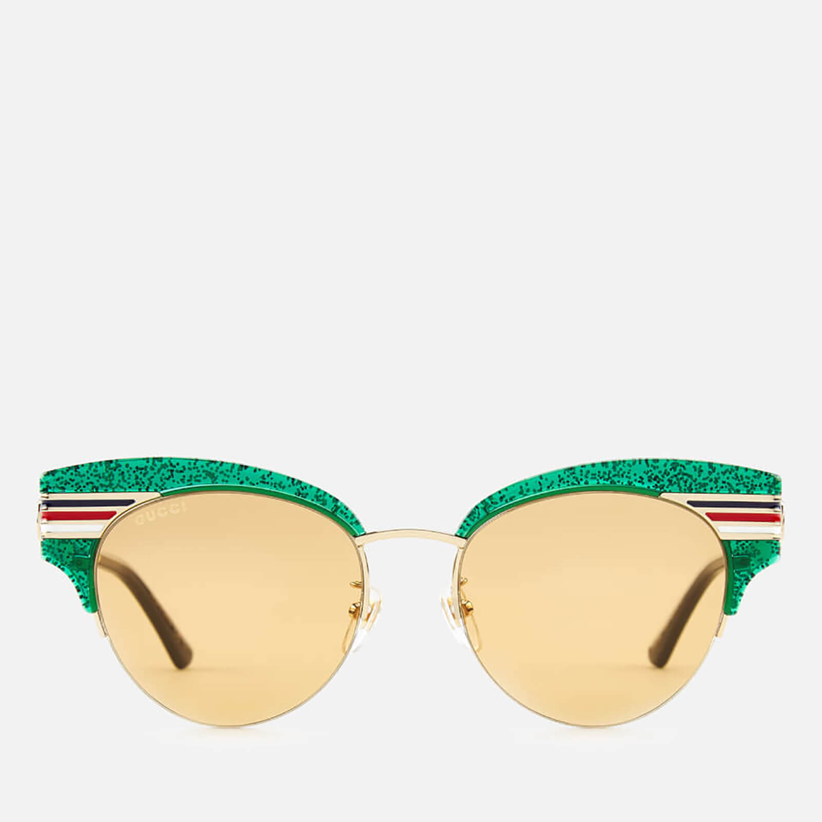 af04063551a Gucci Women s Glitter Cat Eye Sunglasses - Green Gold Brown - Free UK  Delivery over £50