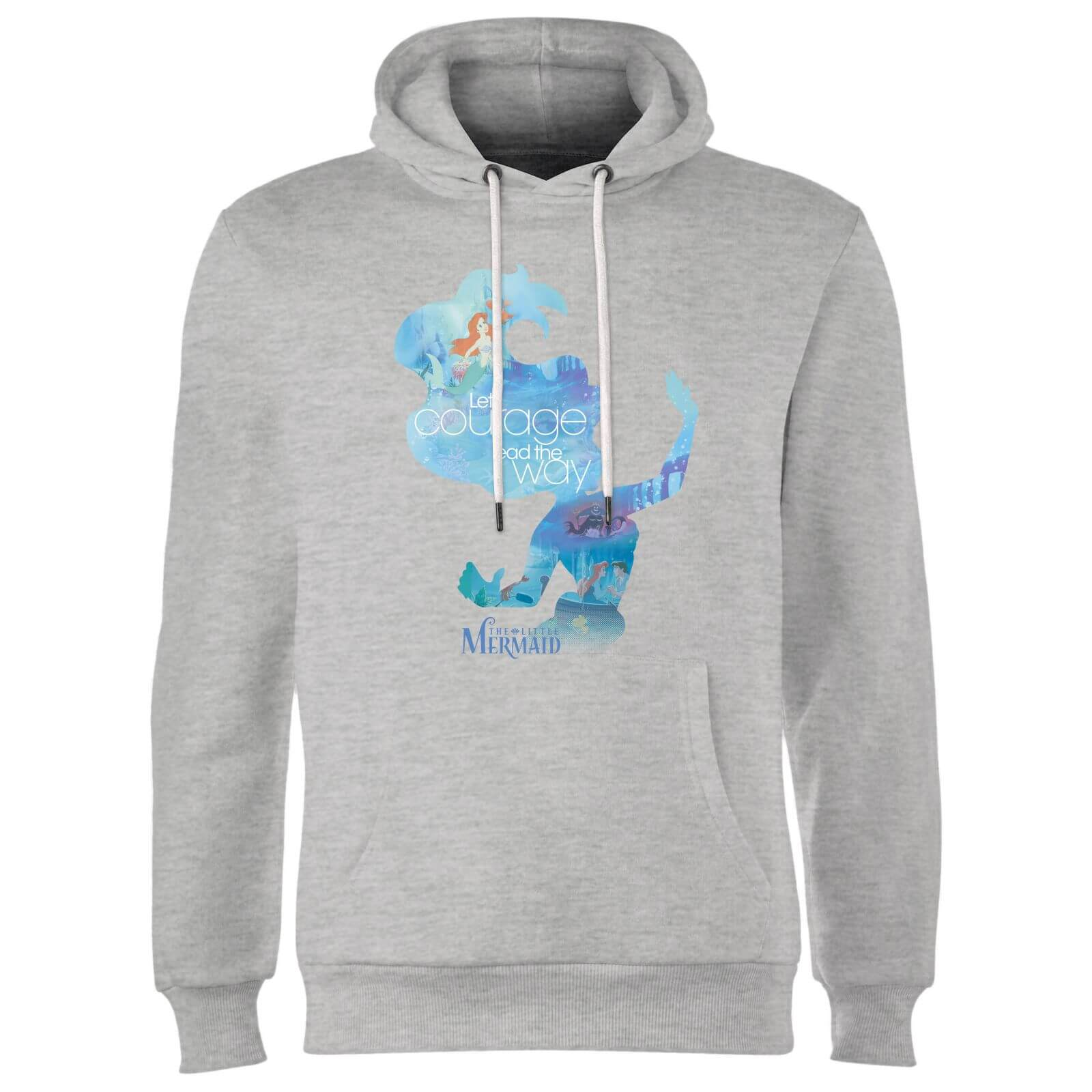 Disney Princess Filled Silhouette Ariel Hoodie - Grey