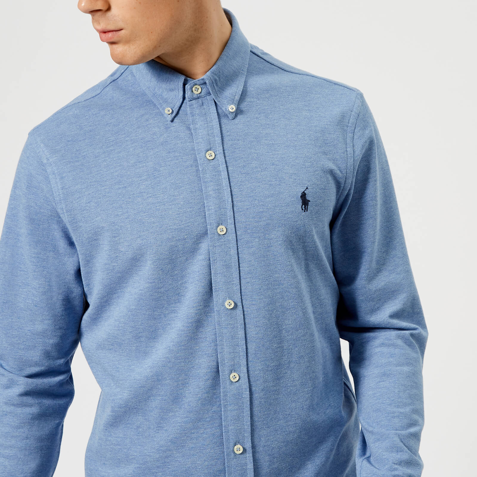 b18680b88b5ba Polo Ralph Lauren Men's Featherweight Long Sleeve Shirt - Blue Heather -  Free UK Delivery over £50