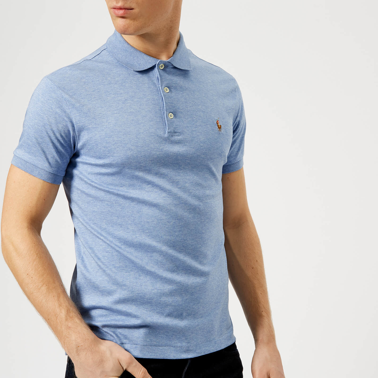 afd56a44 Polo Ralph Lauren Men's Pima Polo Shirt - Blue Heather - Free UK Delivery  over £50