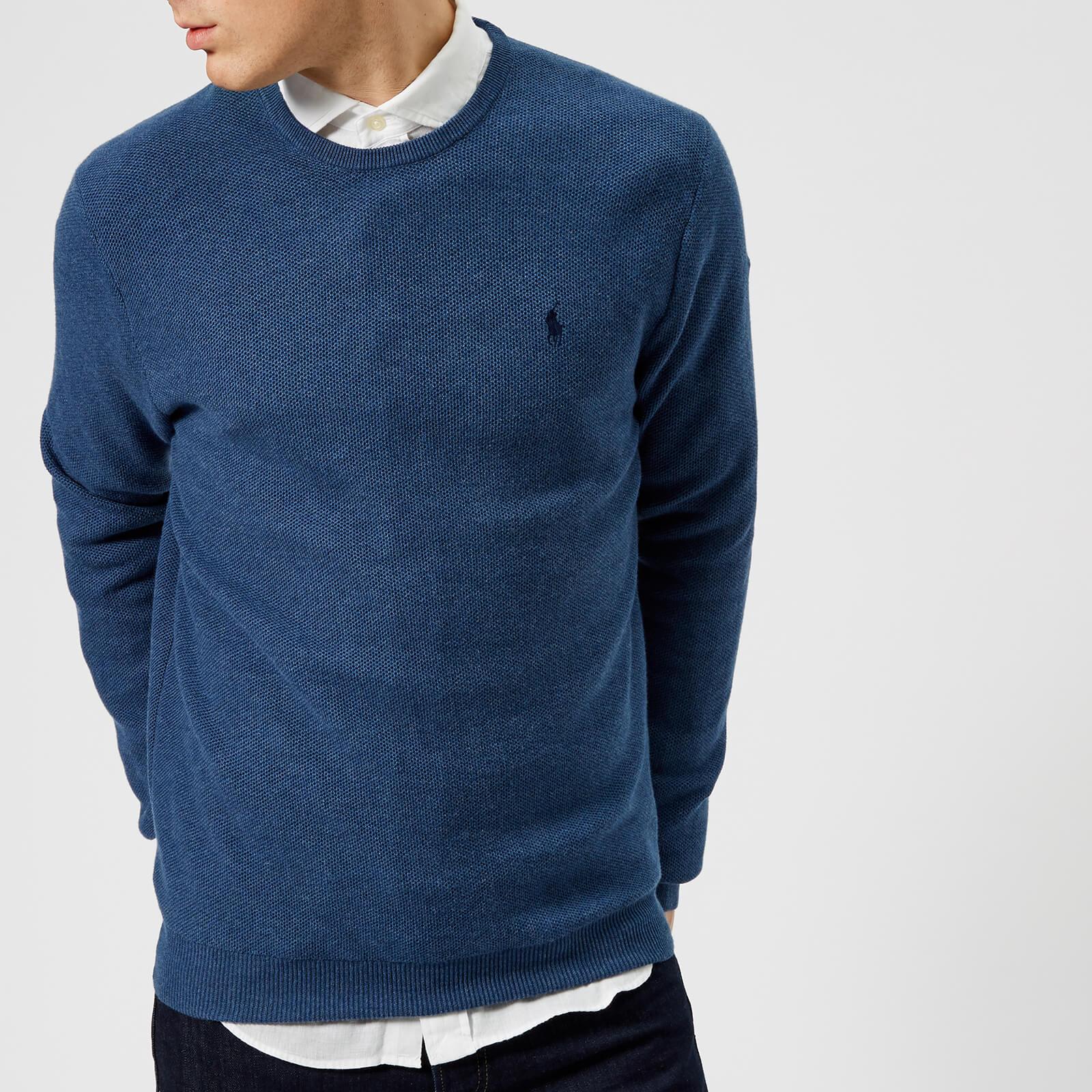 53a53c4cbf5fc Polo Ralph Lauren Men s Pima Cotton Crew Neck Sweater - Blue - Free UK  Delivery over £50