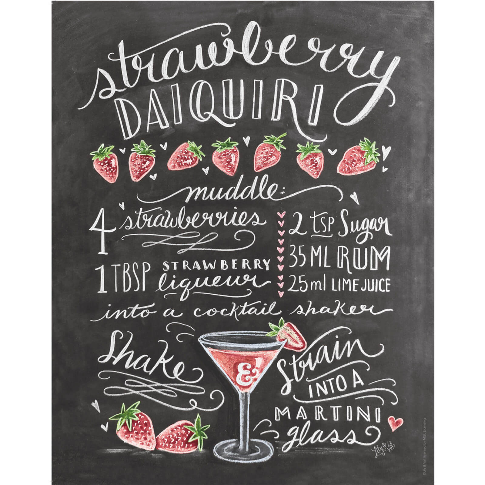 Lily & Val Strawberry Daiquiri Print
