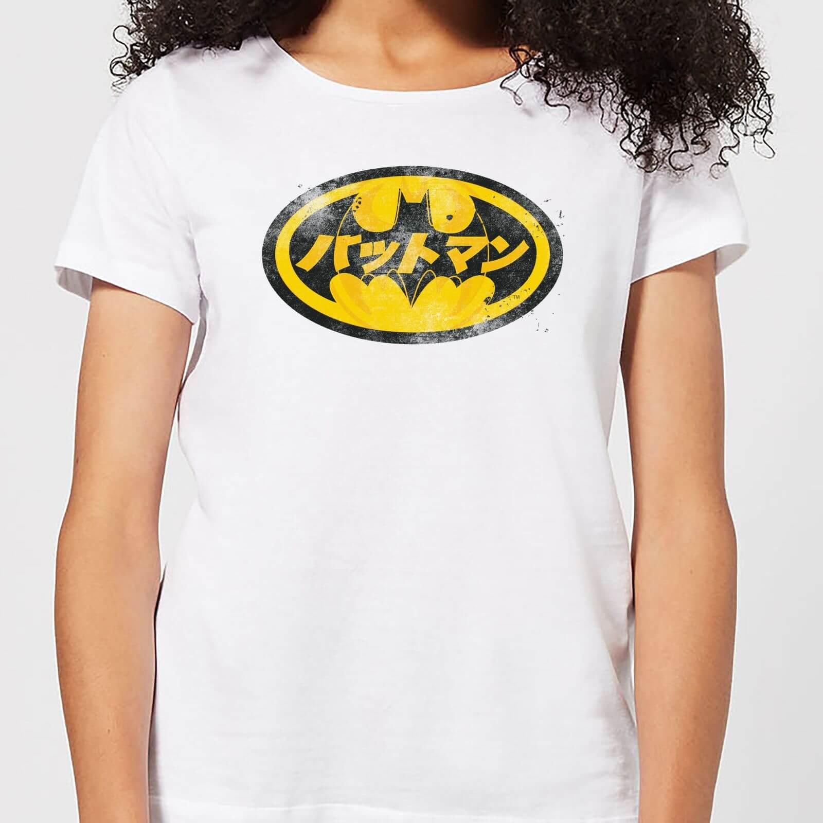 def314660 DC Comics Batman Japanese Logo Women's T-Shirt - White | Pop In A Box Canada
