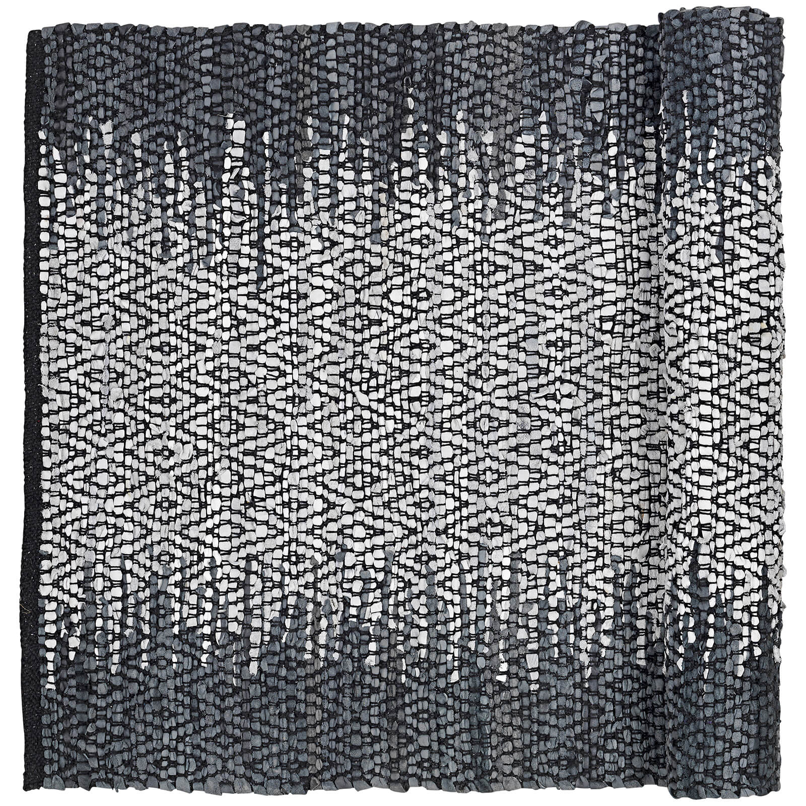 Broste Copenhagen Unnr Leather Cotton Rug - Natural Grey - 70cm x 140cm