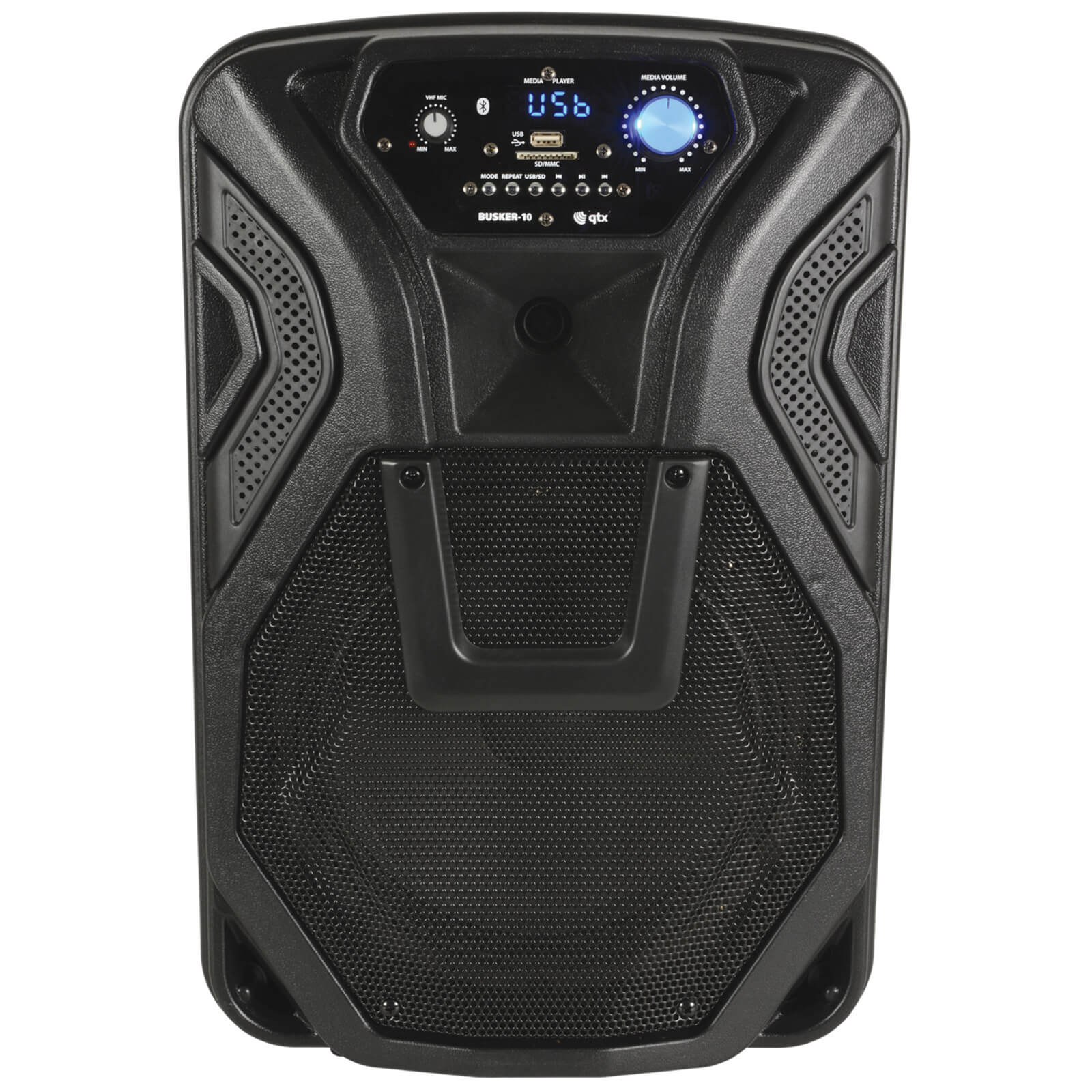 QTX Busker-10 Battery Powered Portable Bluetooth PA System (1 Mic Included) - Black