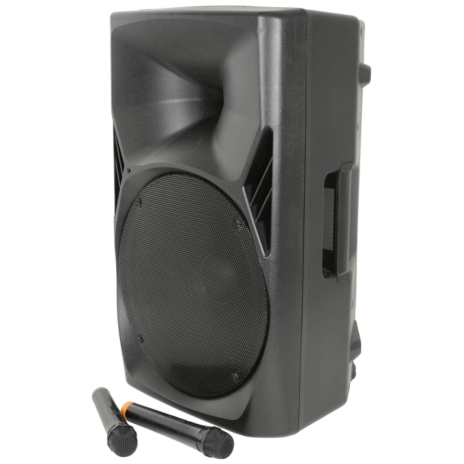 QTX QUEST-15 Bluetooth Portable PA System with 2 Wireless VHF Mics - Black