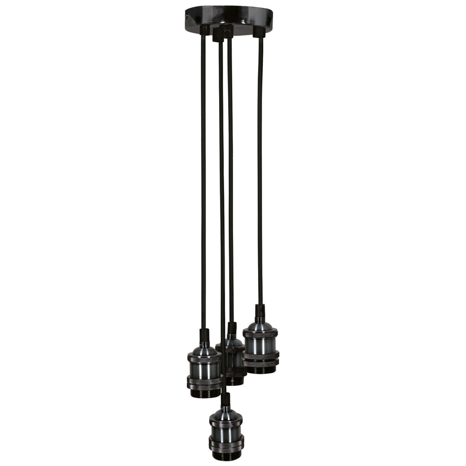 Lyyt Quad E27 Pendant Cord Set - Black Chrome