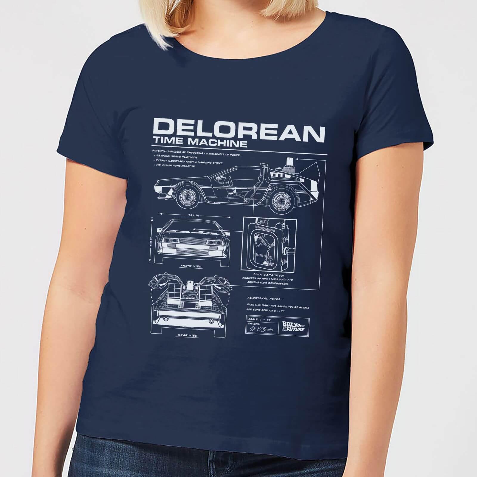 Regreso Azul Delorean Futuro Camiseta Mujer Marino Al vOyw0mNn8