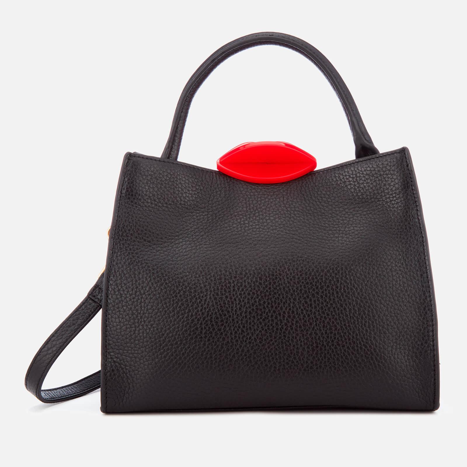 55aeae2bed5 ... Lulu Guinness Women s Small Locked Lips Opt Strap Annette Tote Bag -  Black