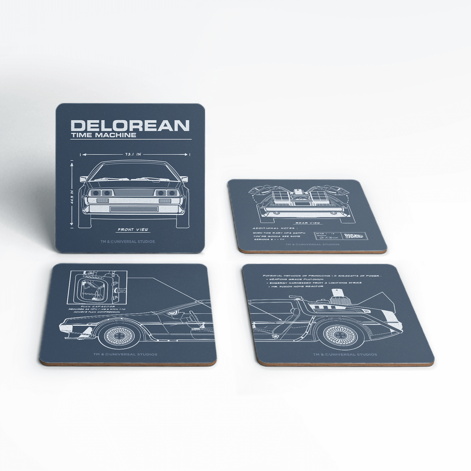 Back To The Future Delorean Schematic Coaster Set