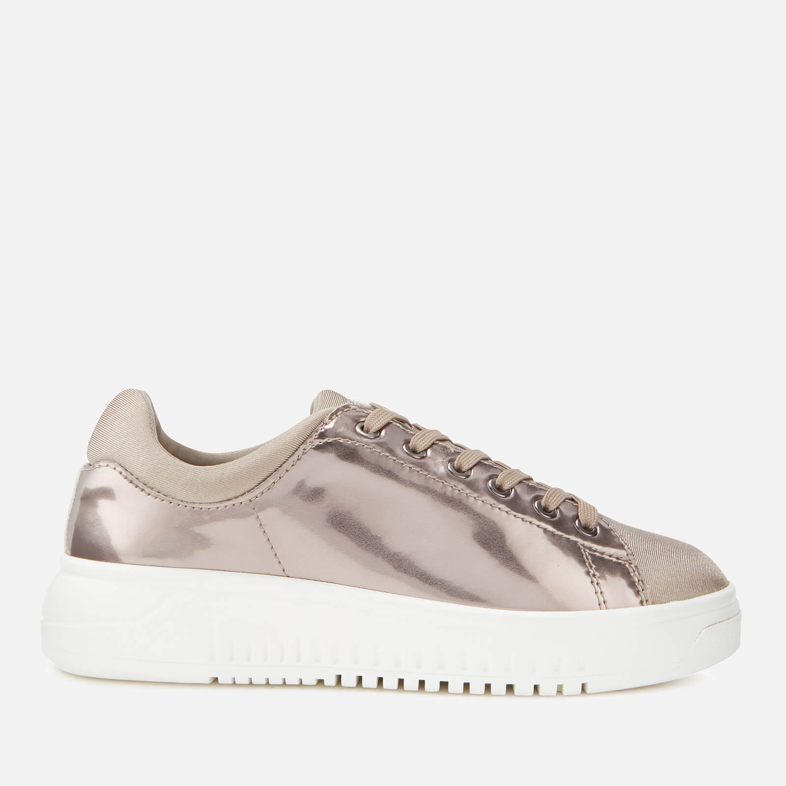 Emporio Armani Women's Icon Mirror Flatform Trainers - Porpoise/Desert Taupe - UK 5 - Gold