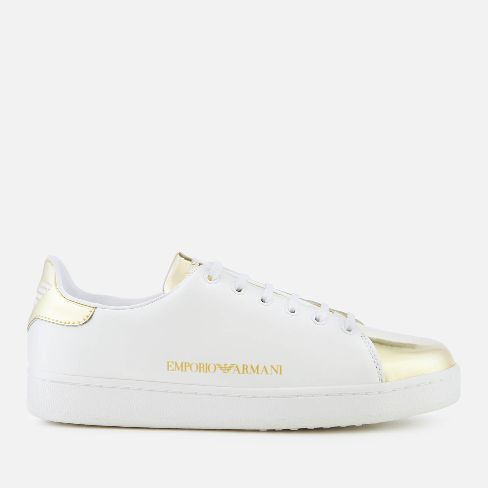 bacb524f07591 Emporio Armani Women's Serena Leather Low Top Trainers - White/Gold | FREE  UK Delivery | Allsole