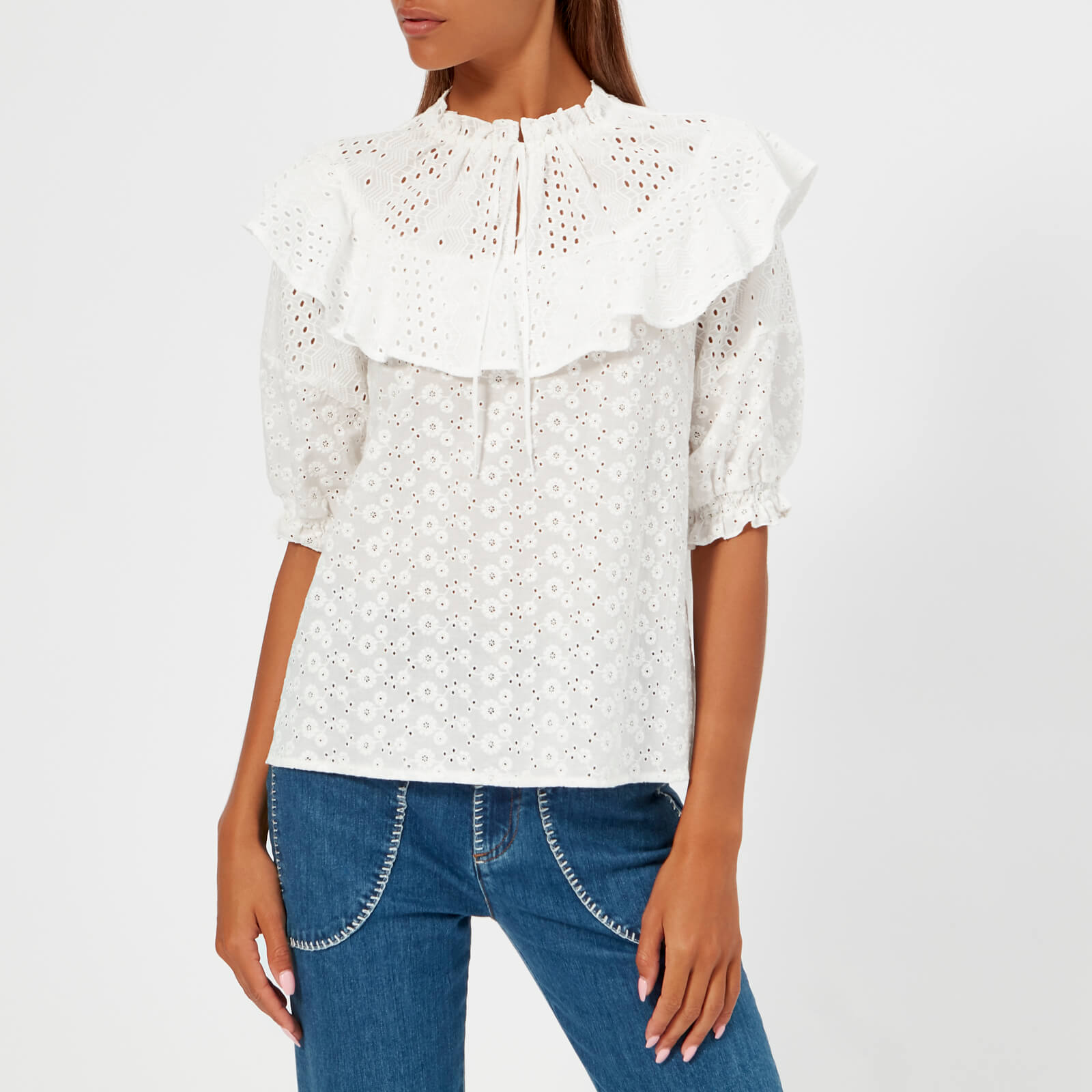 96517c09cd See By Chloé Women's Cotton Ruffle Blouse - White