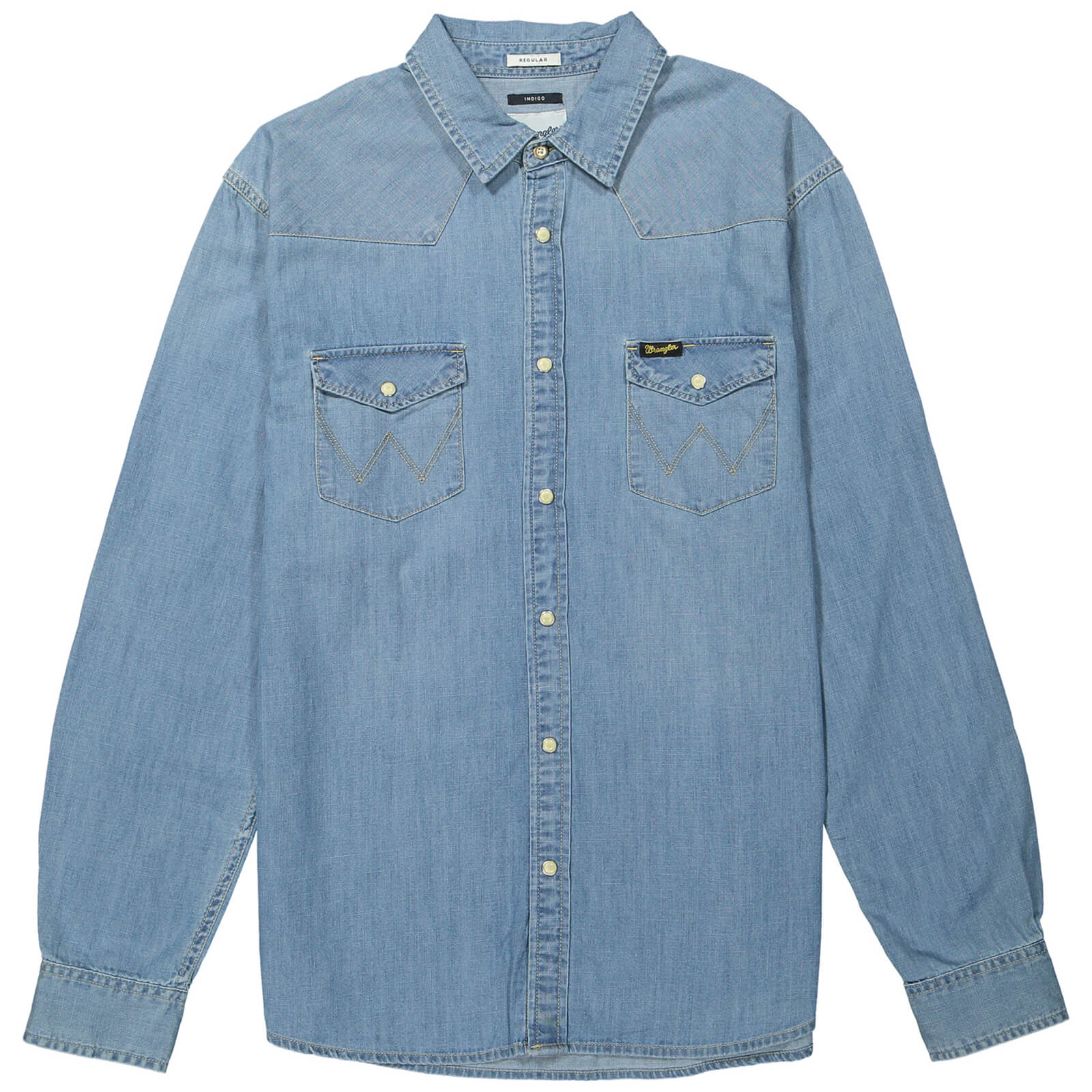 c7a2929ff0c84b Wrangler Men's Western Denim Shirt - Light Indigo Mens Clothing | Zavvi