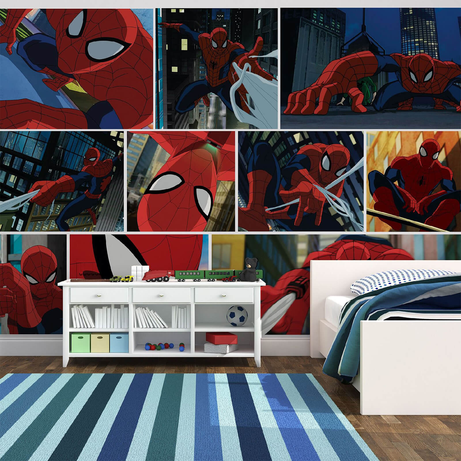 Marvel Spider-Man Cartoon Scene Wall Mural