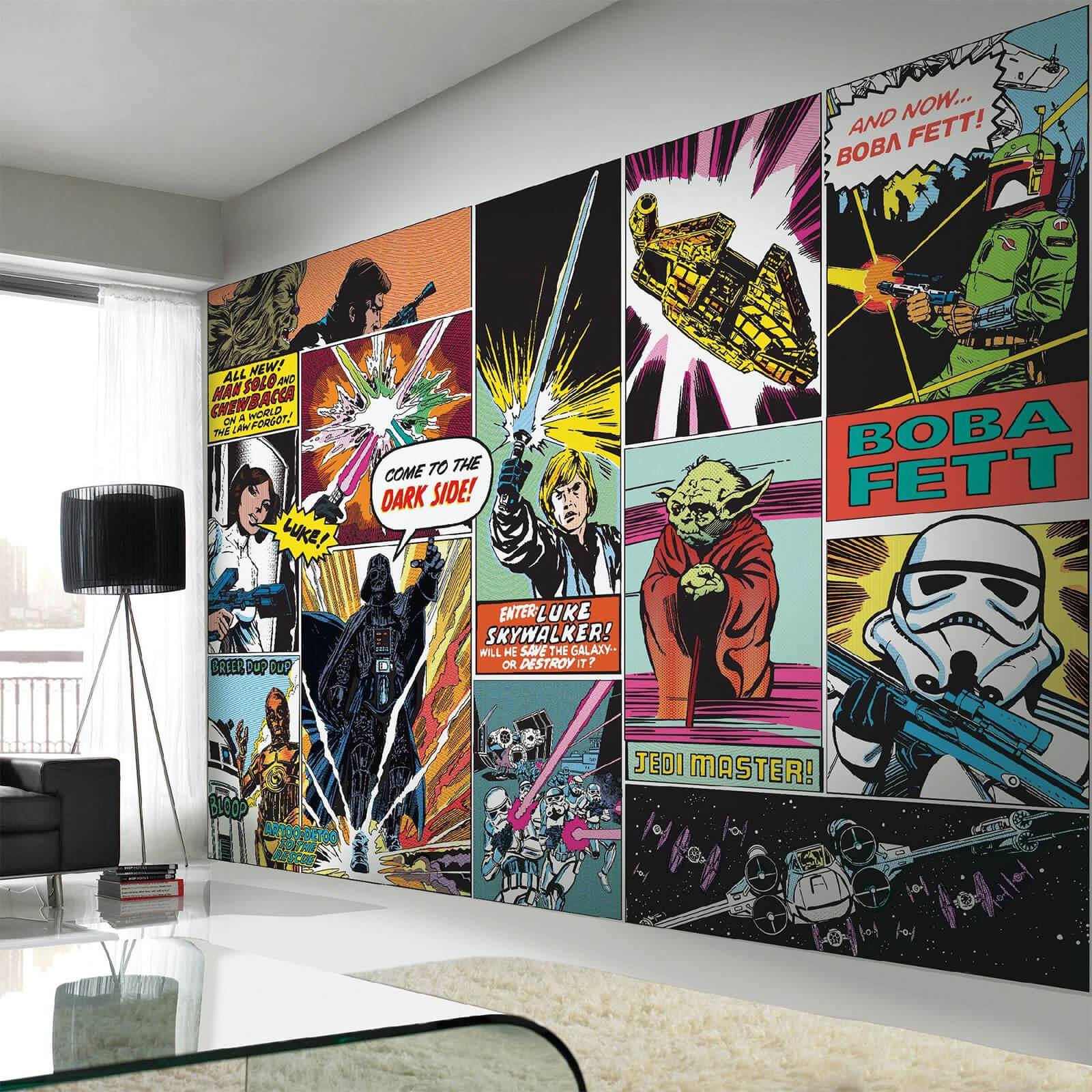 Star Wars Retro Comic Pop Art Wall Mural & Star Wars Retro Comic Pop Art Wall Mural | IWOOT
