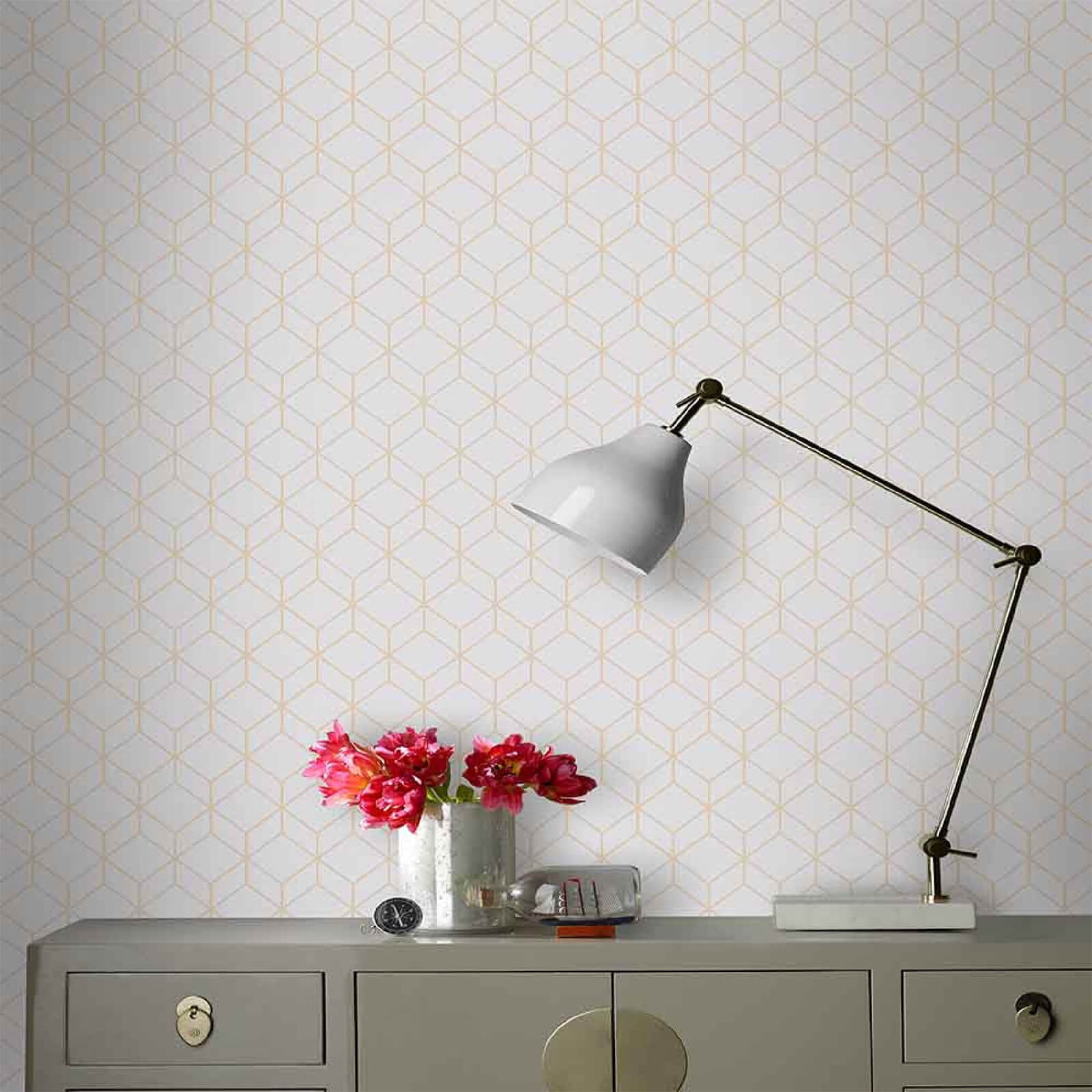 Superfresco Easy Grey/Rose Gold Geometric Myrtle Wallpaper