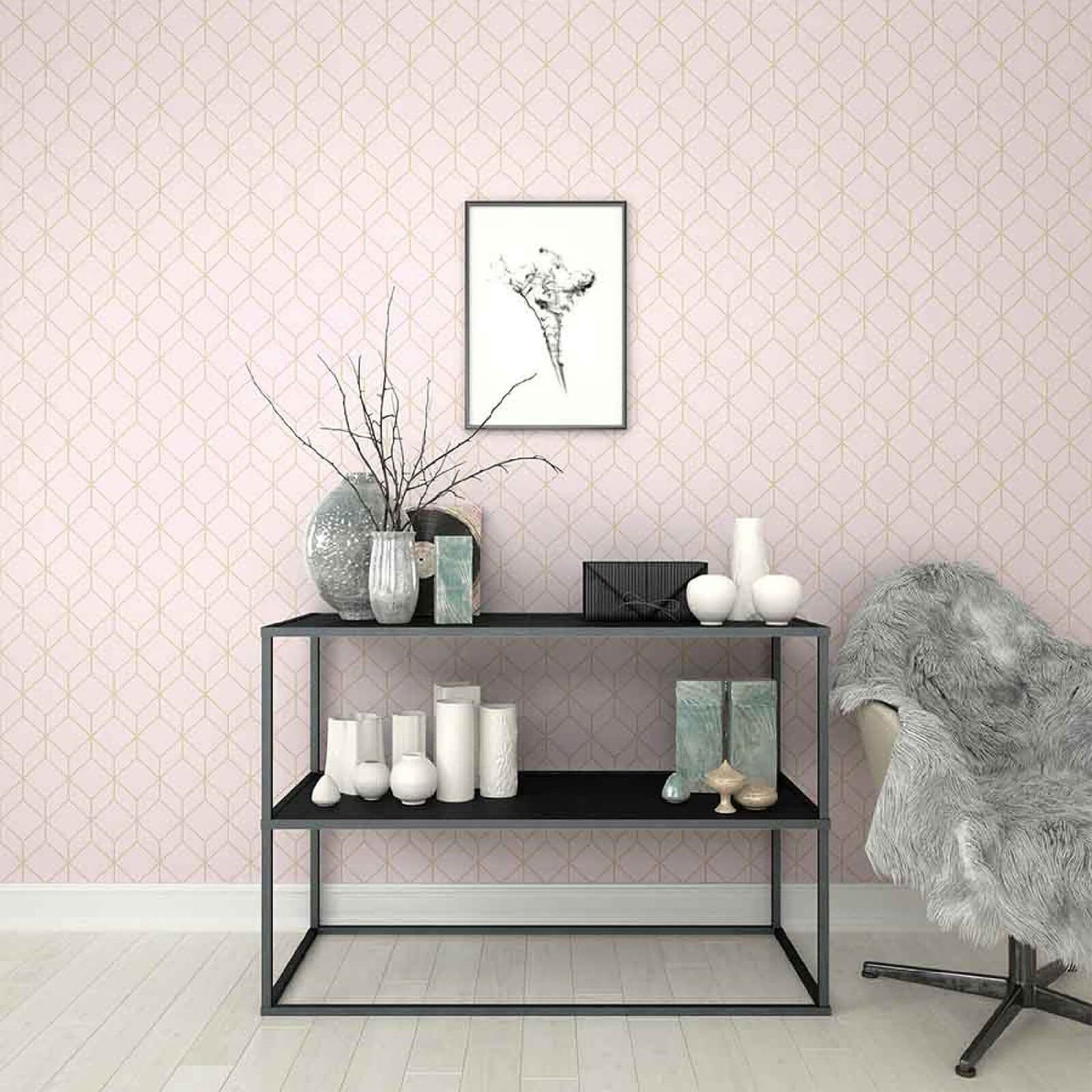 Superfresco Easy Blush/Rose Gold Geometric Myrtle Wallpaper