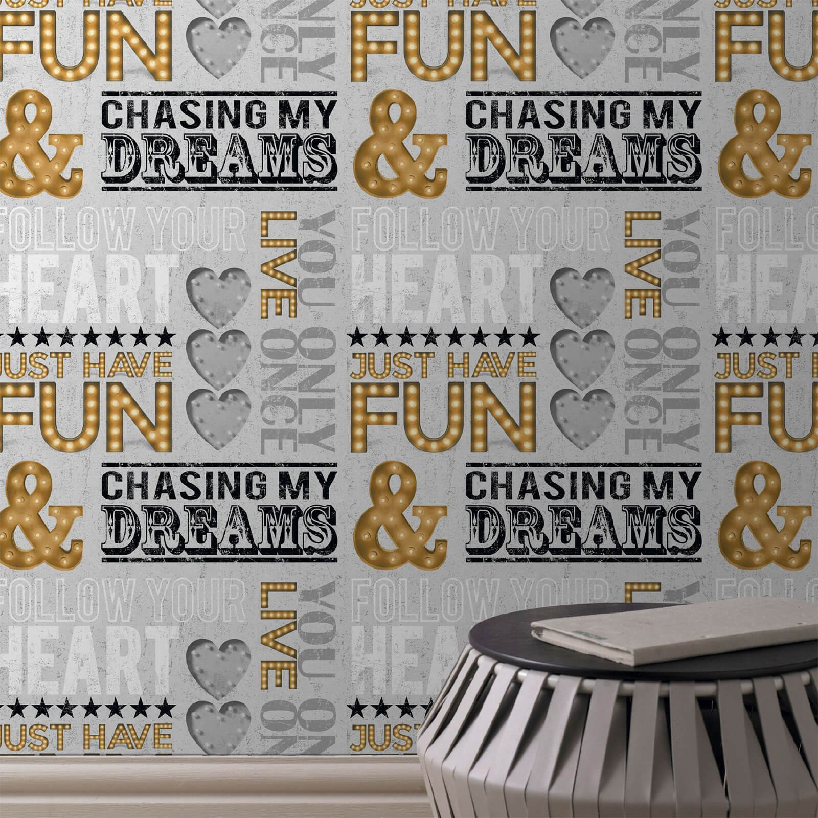 Fresco Typograph Gold/Grey Chasing Dreams Wallpaper